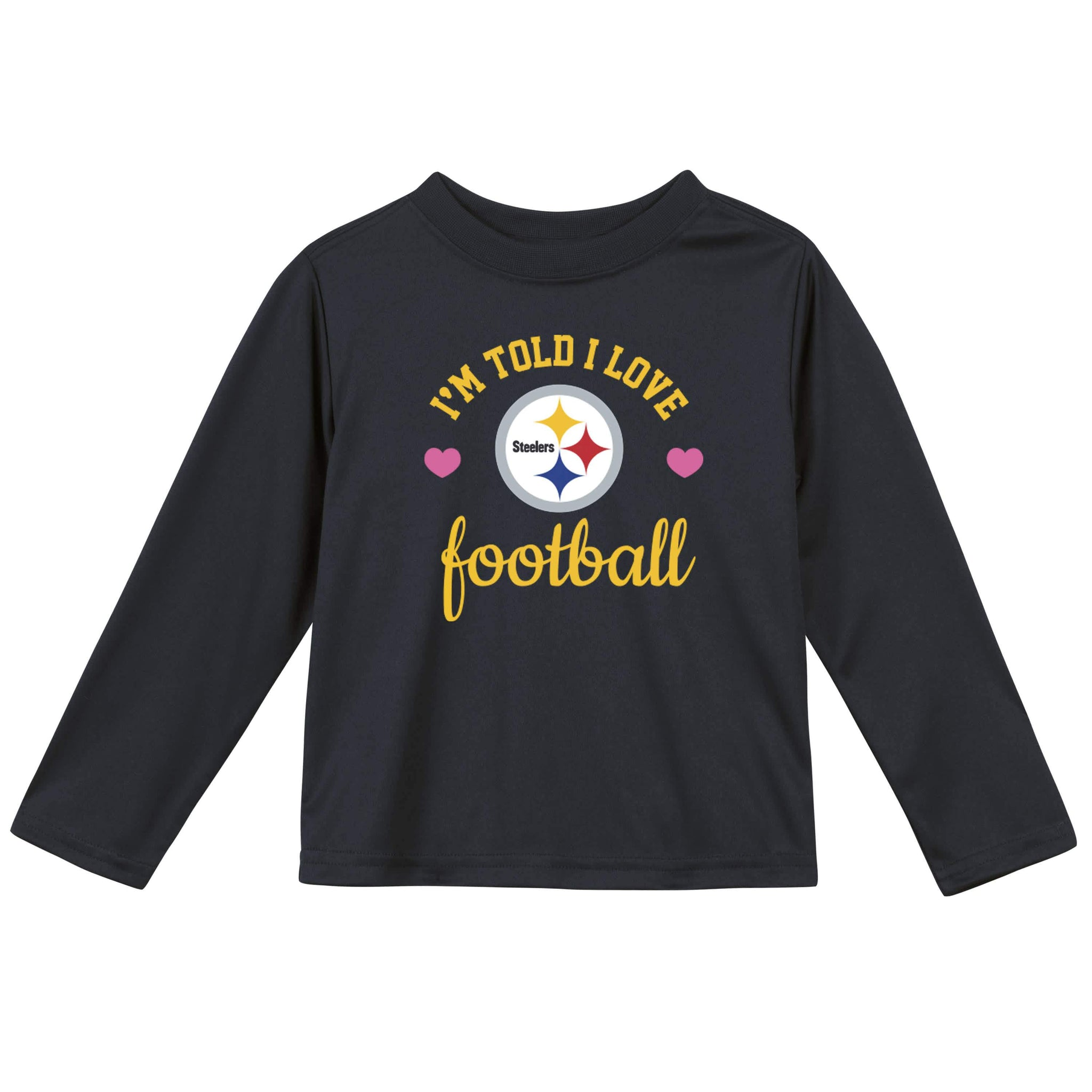 Pittsburgh Steelers Girls Long Sleeve Tee Shirt-Gerber Childrenswear