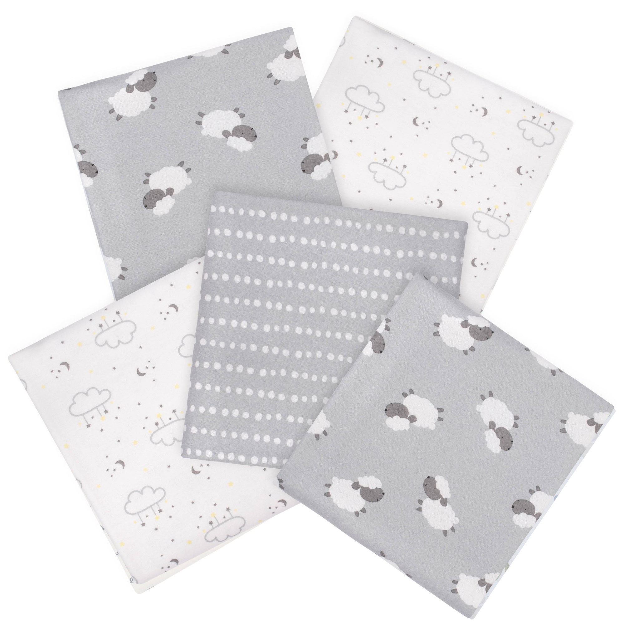 Gerber 5-Pack Baby Neutral Lamb Flannel Blankets