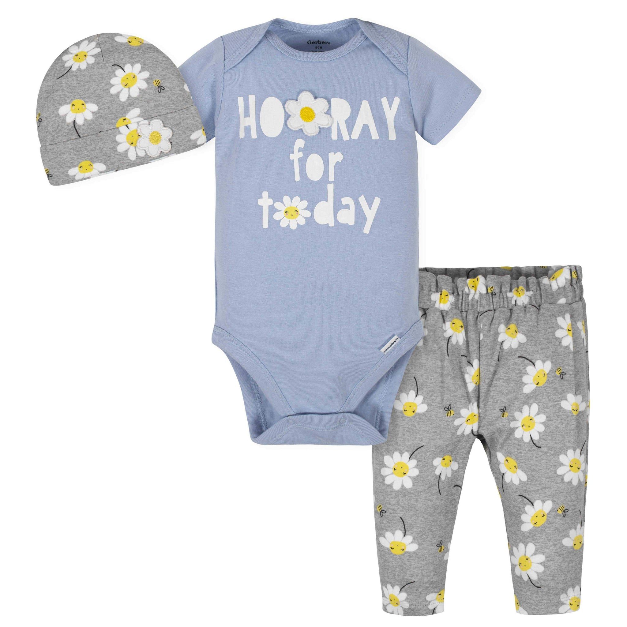 3-Piece Baby Girls Daisies Take-Me-Home Set