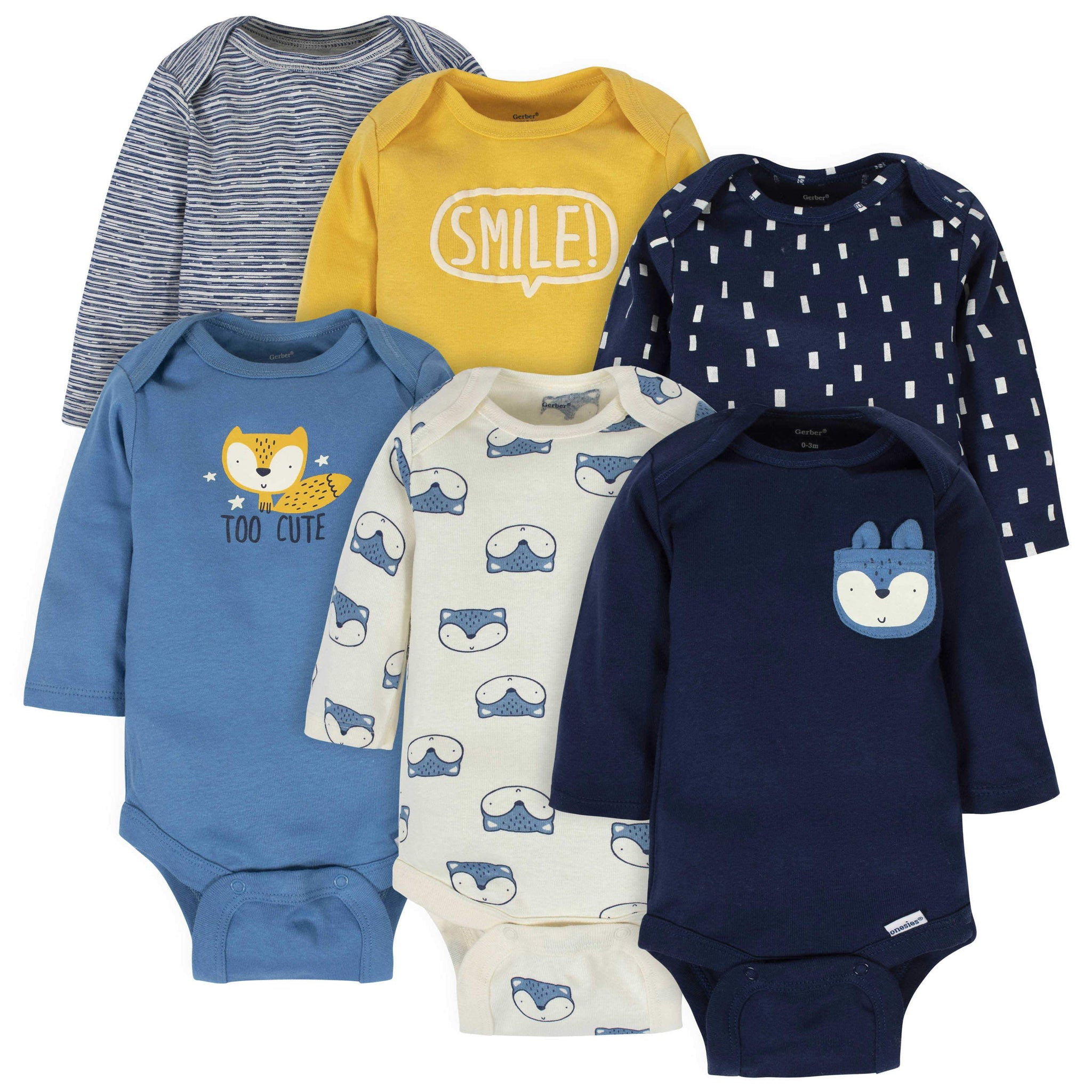 6-Pack Baby Boys Fox Long Sleeve Onesies
