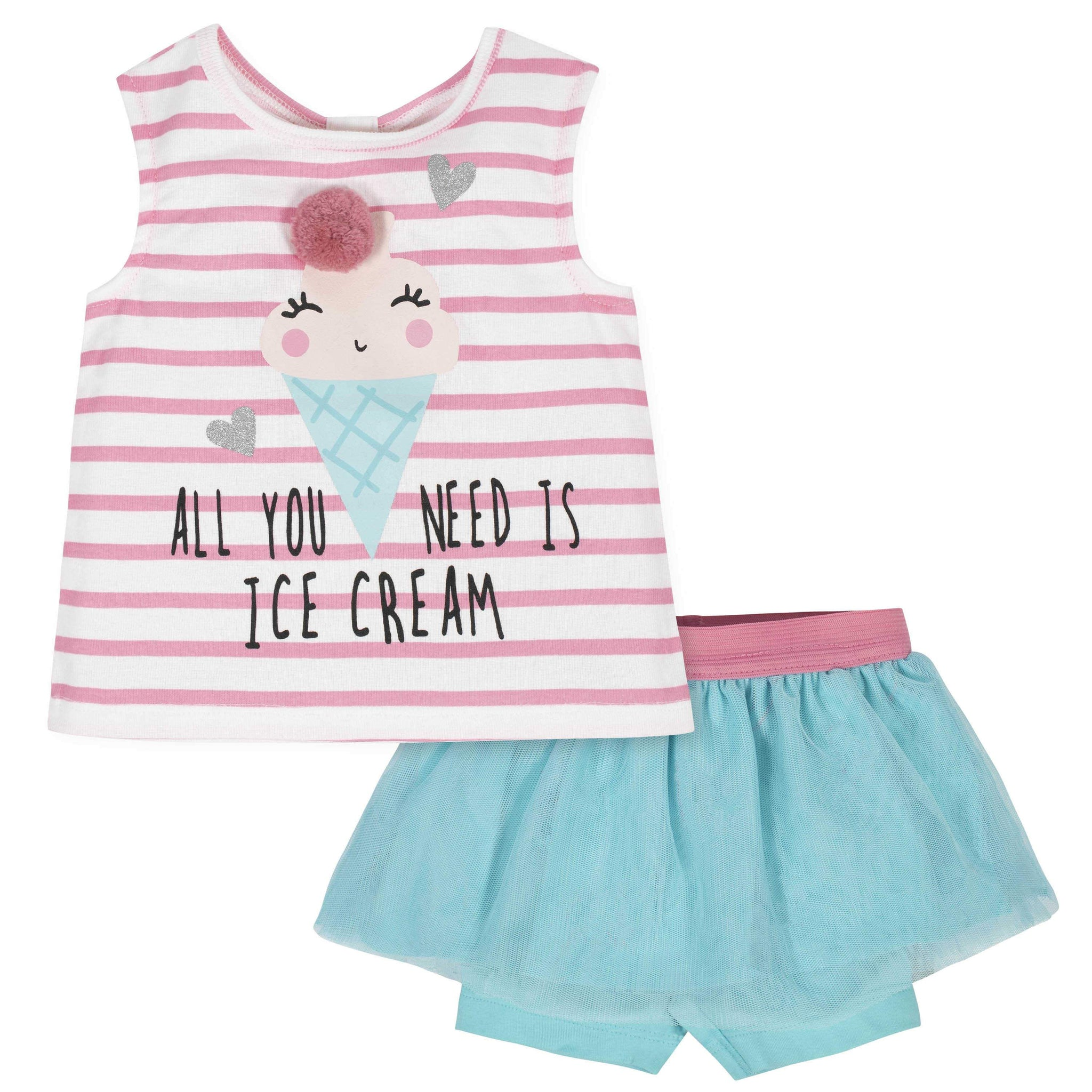 2-Piece Toddler Girls Ice Cream Tank and Tutu Short Set