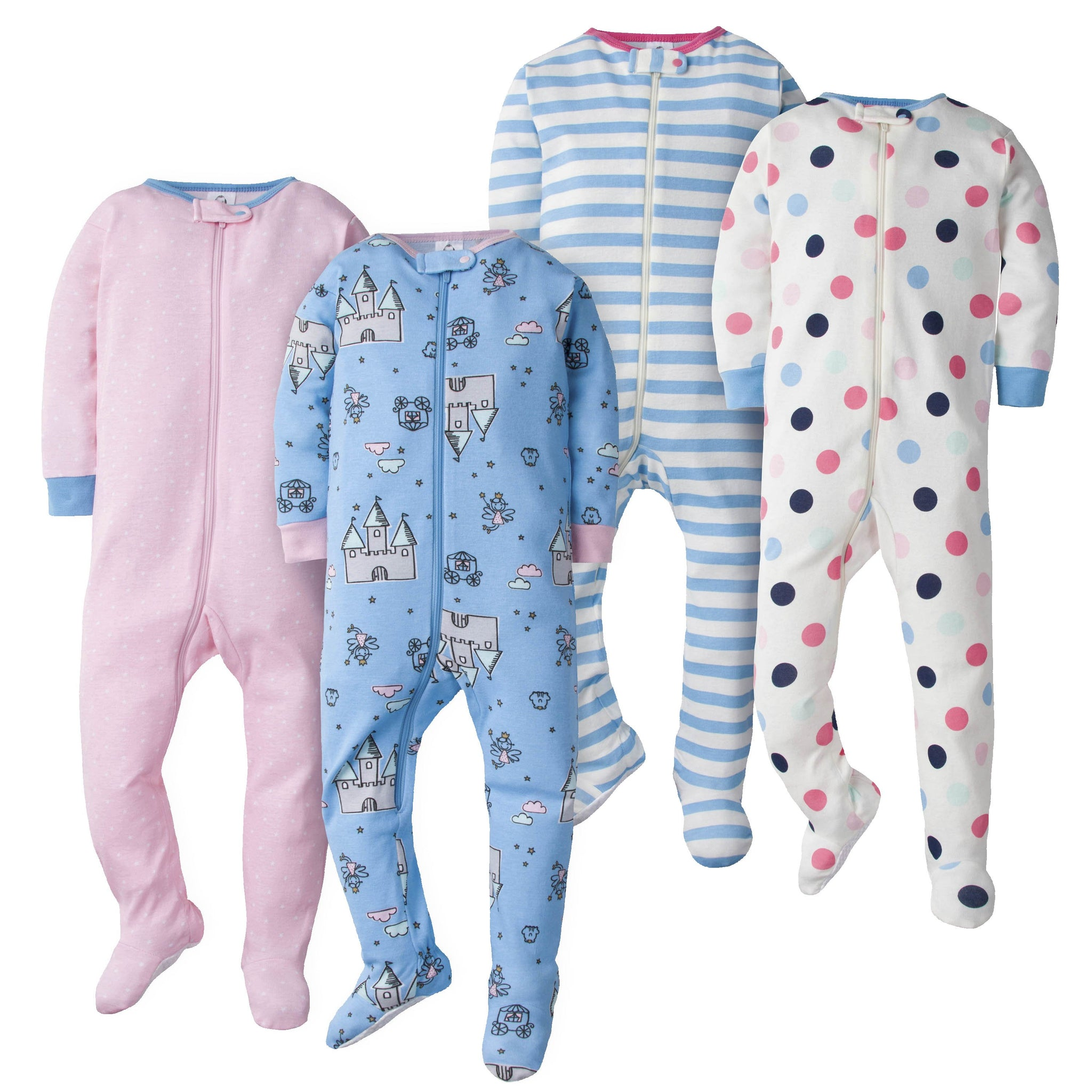 Gerber Girls' Dots and Fairytale 4-Pack Footed Union Suits