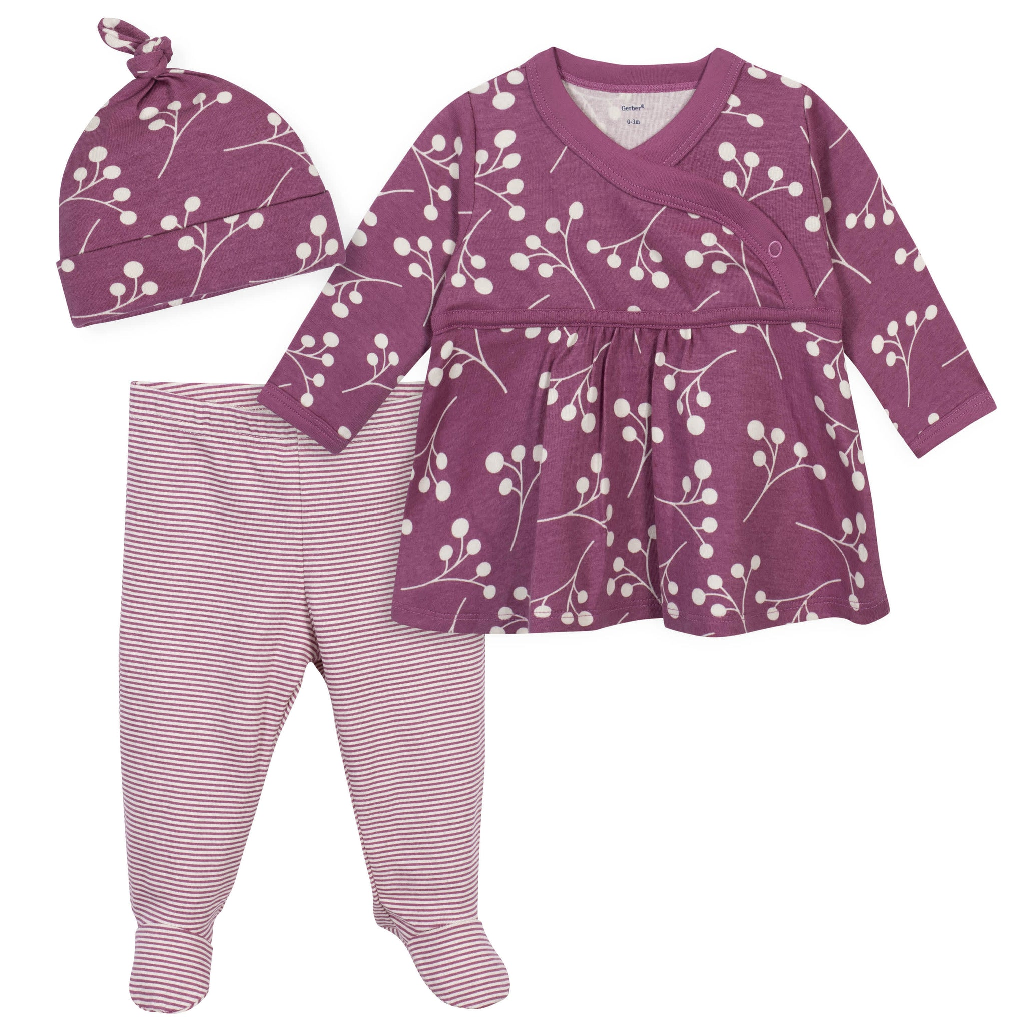 3-Piece Baby Girls Grow by Gerber® Floral Organic Shirt, Footed Pant and Cap Set