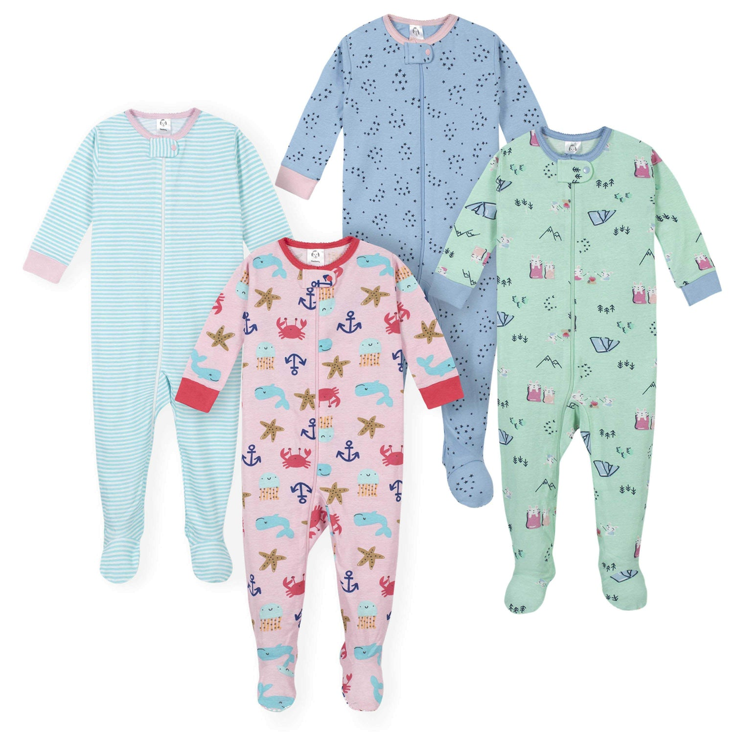 GERBER Baby Girls 4-Pack Footed Unionsuit