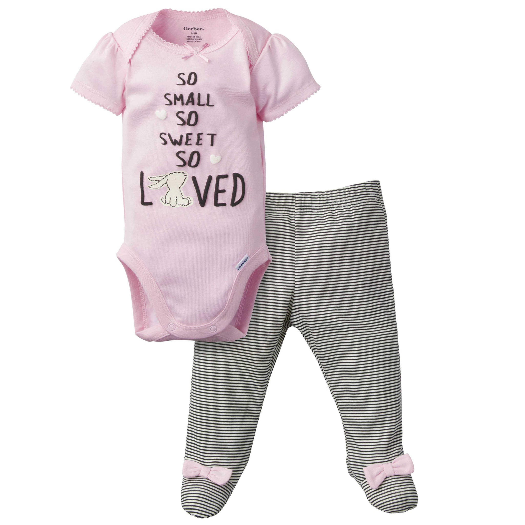 Gerber® 2-Piece Baby Girls Bunny Bodysuit and Pant Set