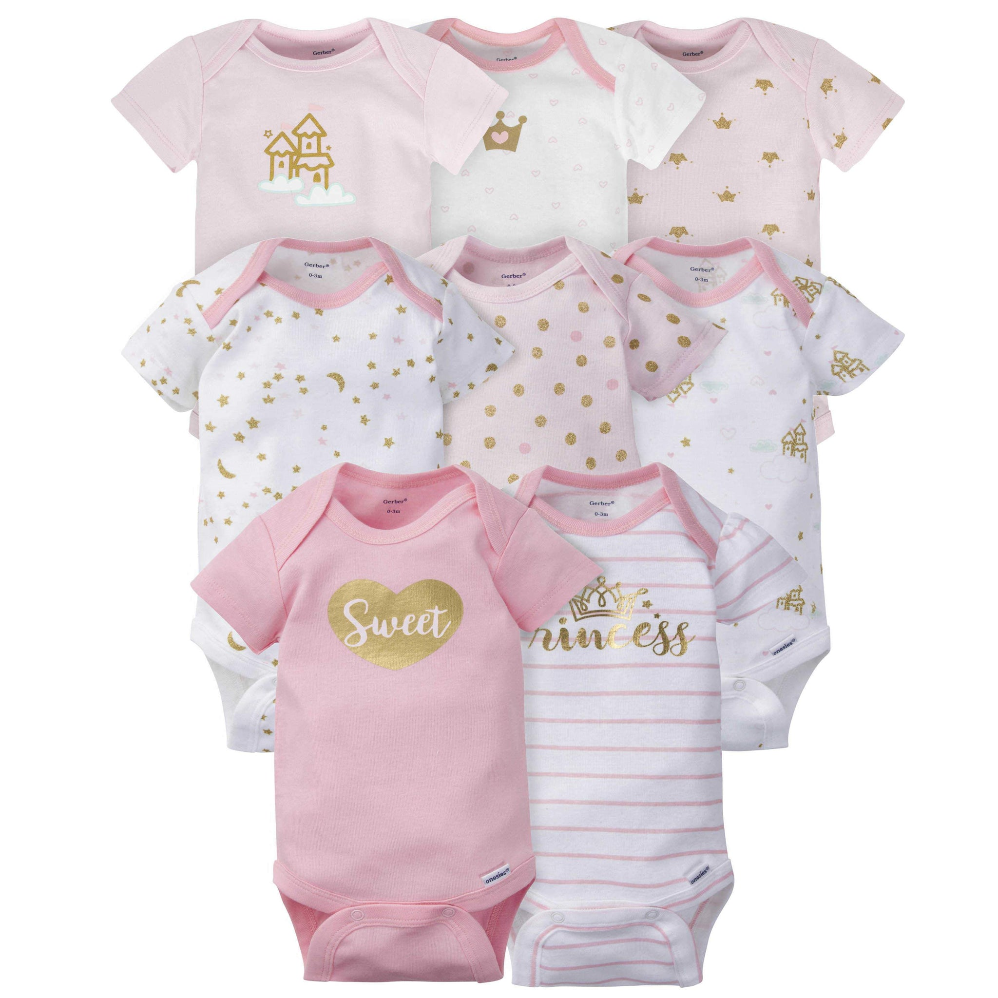 Gerber® 8-pack Baby Girls' Castle Short Sleeve Onesies®