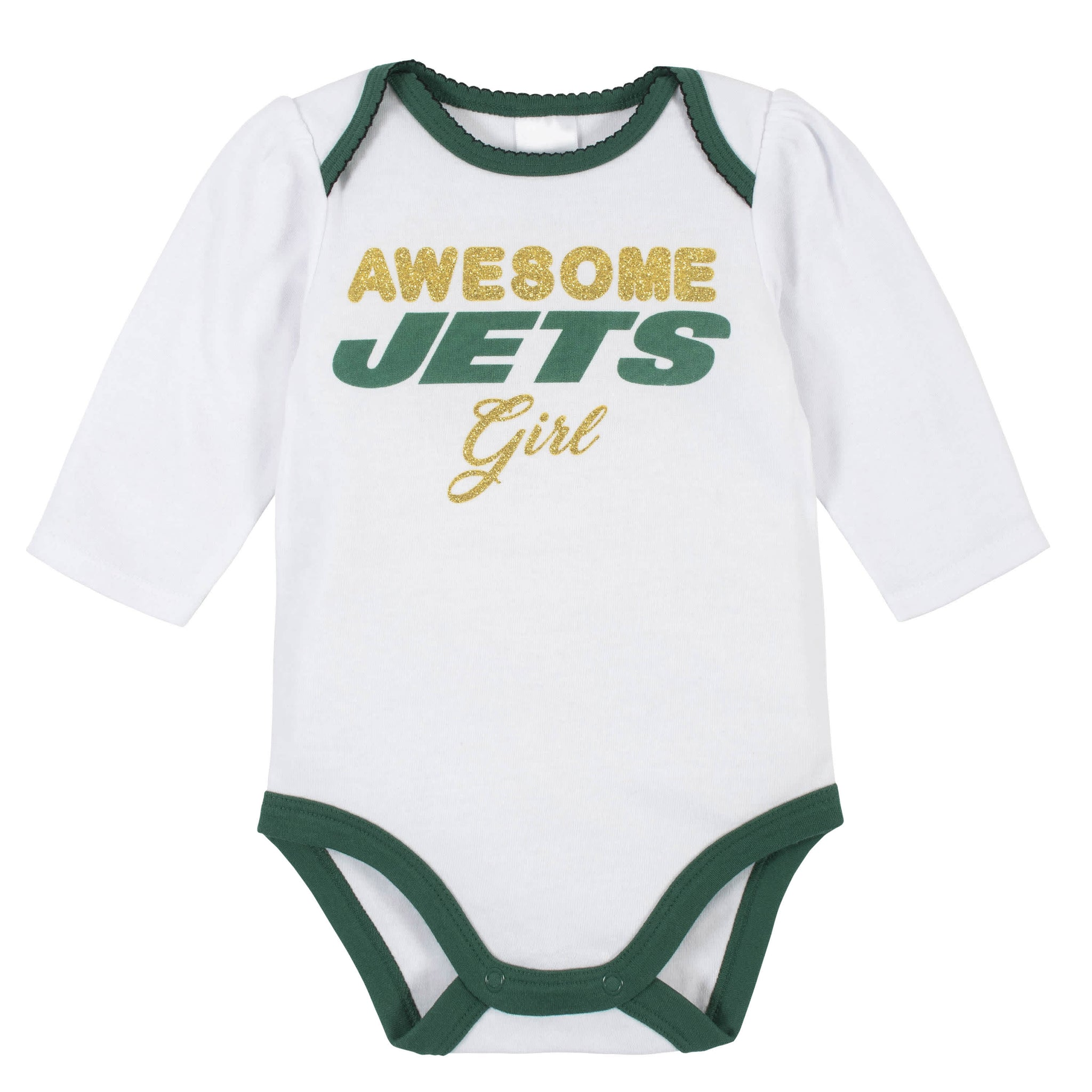 New York Jets Baby Girls Bodysuit, Pant, and Cap Set-Gerber Childrenswear