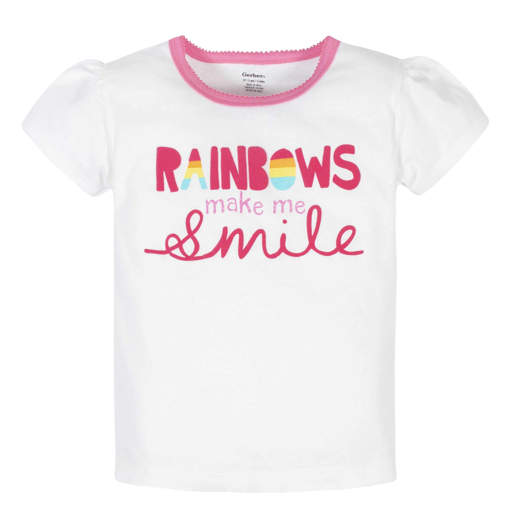 Gerber® 4-Piece Girls Rainbows Skirted Panty, Shirts, and Slim Pant Set