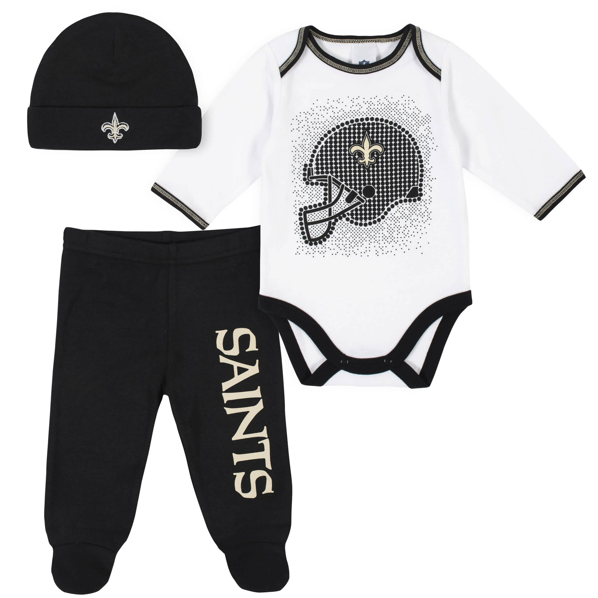 New Orleans Saints 3-Piece Baby Boys Bodysuit, Pant, and Cap Set-Gerber Childrenswear