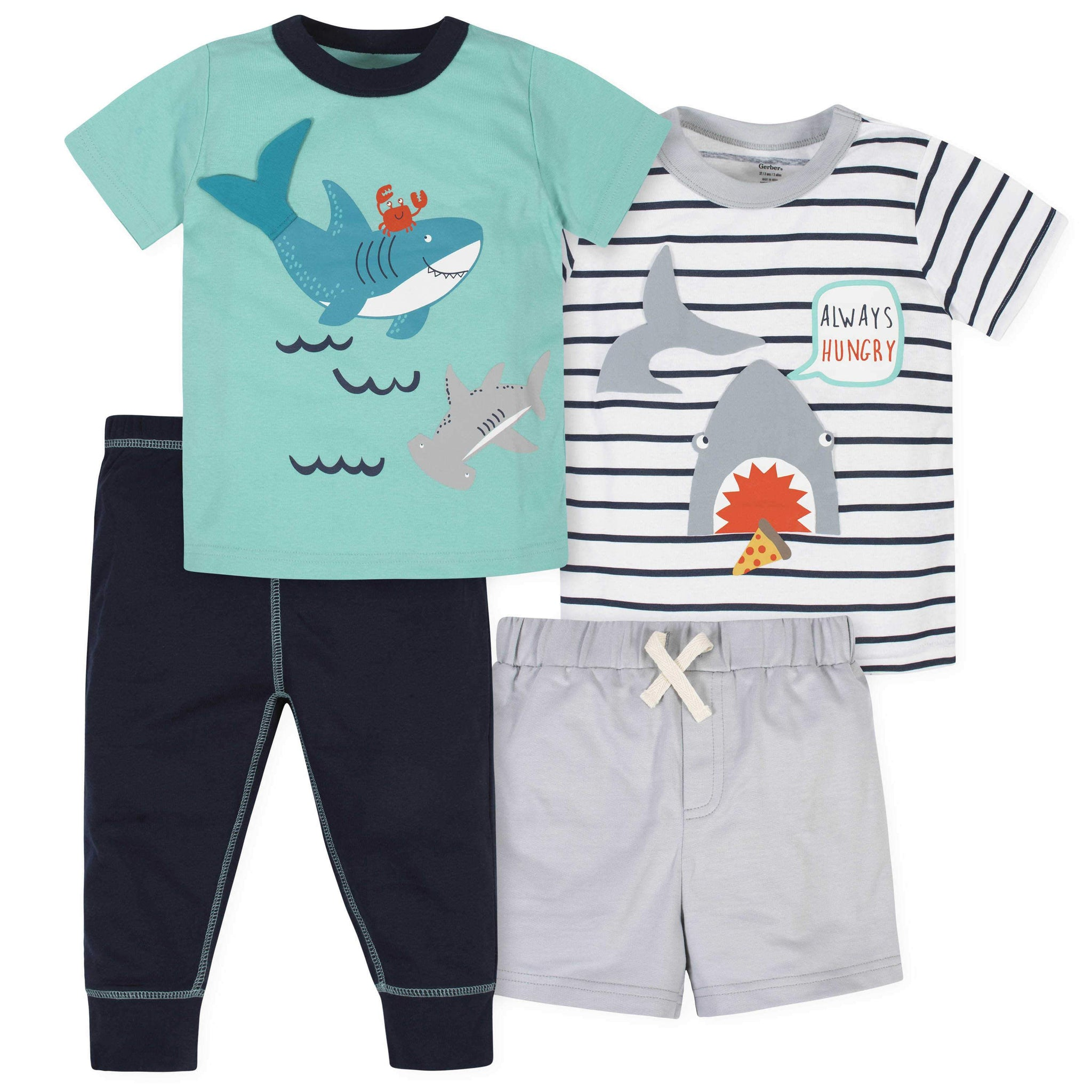 4-Piece Toddler Boys Shark Short, Shirts, and Active Pant Set