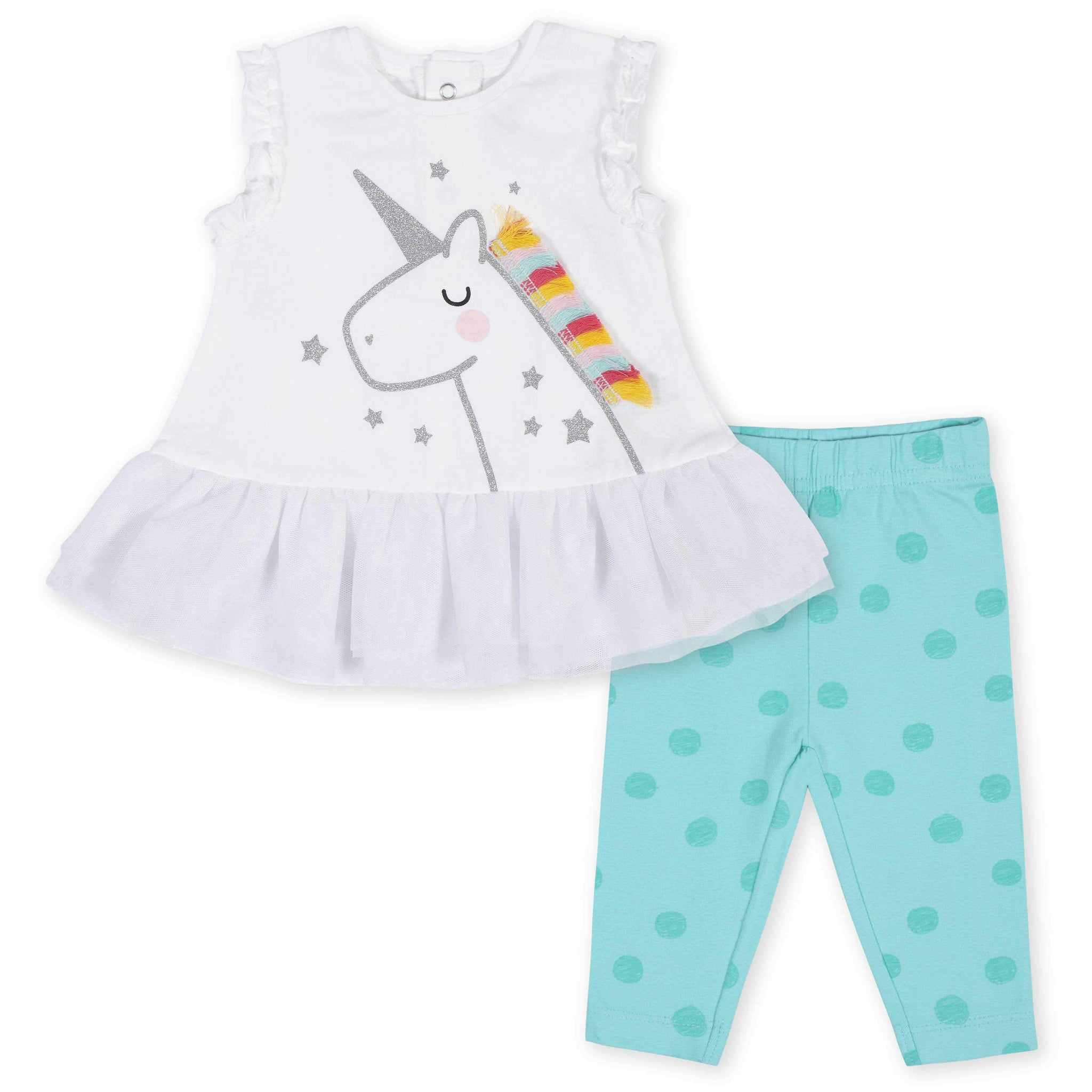 2-Piece Baby Girls Unicorn Ruffled Tunic and Legging Set