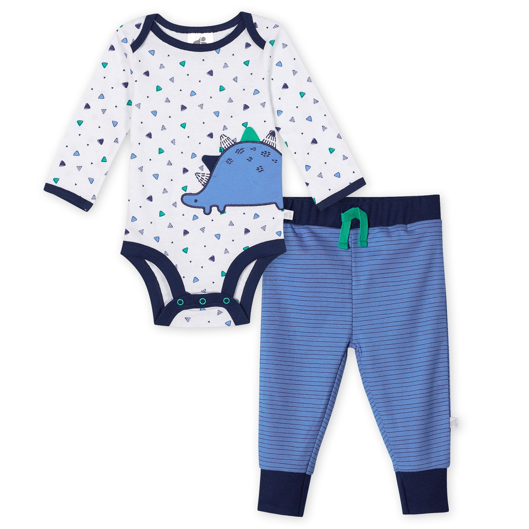 Just Born® Organic Baby Boys 2-Piece Lil' Dino Long Sleeve Bodysuit and Pant Set