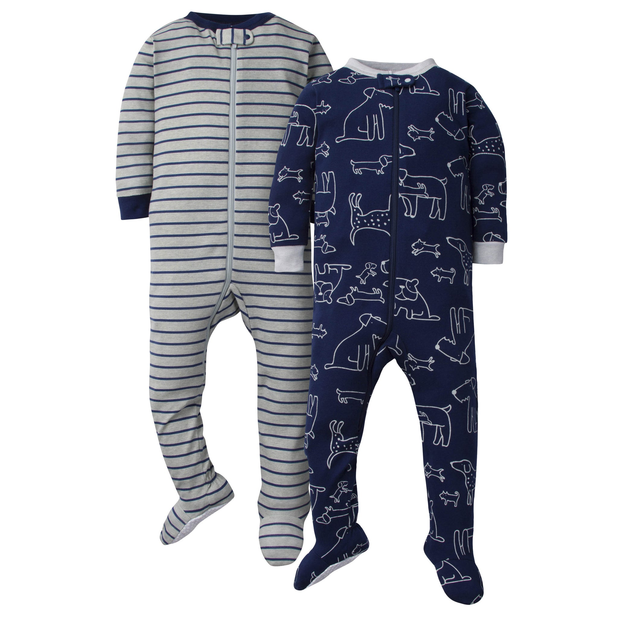 2-Pack Baby Boys Footed Union Suits - Dogs