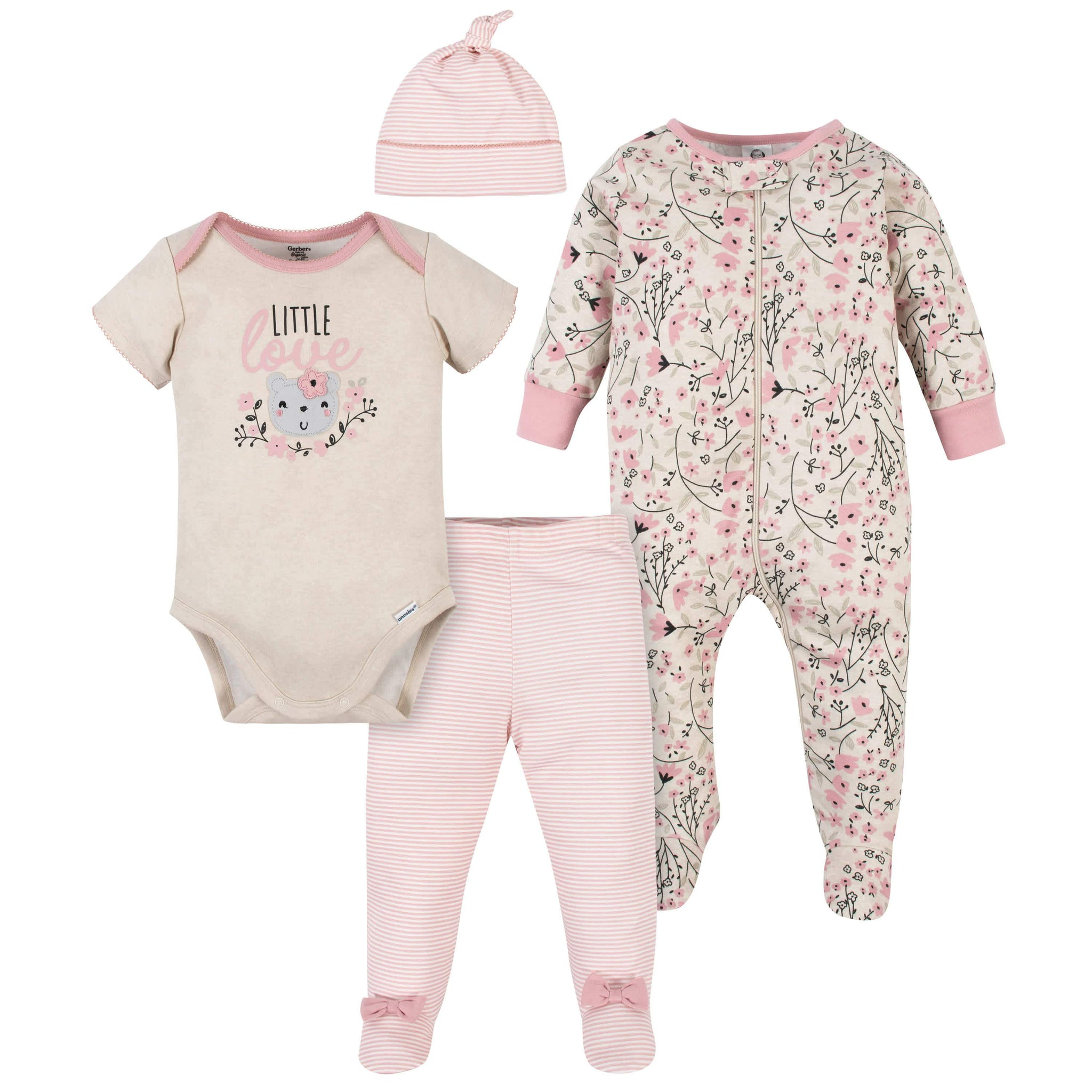 Gerber® Organic 4-Piece Baby Girls Flower Take-Me-Home Set
