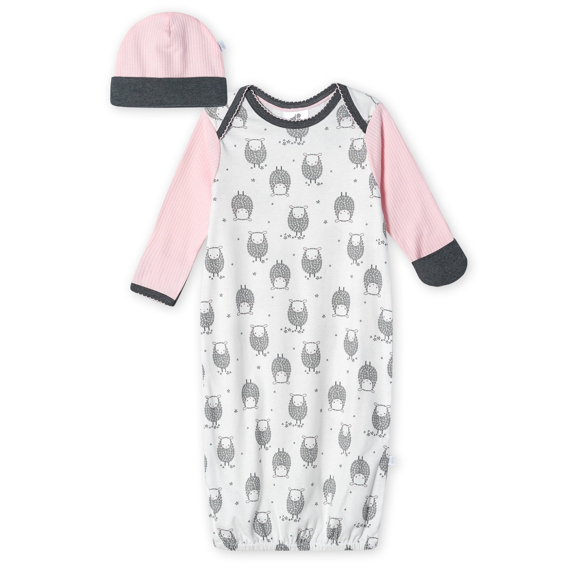 Just Born® Organic Baby Girls 2-Piece Lil' Lamb Gown and Hat Set