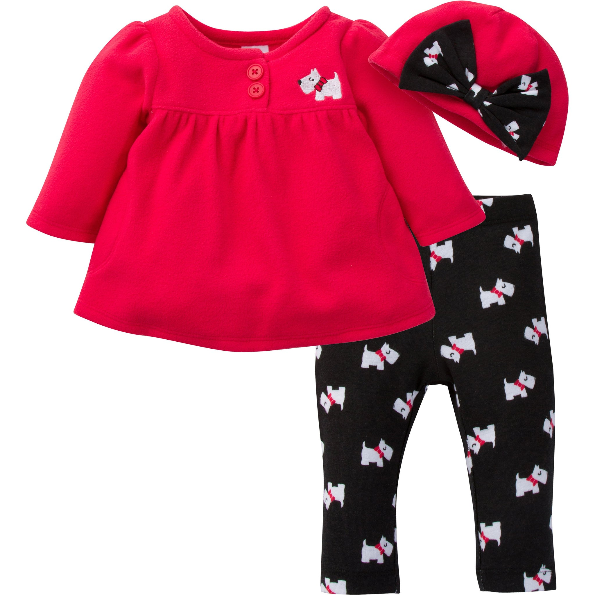 Gerber Baby 3 Piece Micro Fleece Top, Pant and Cap Set, Scottie Dog