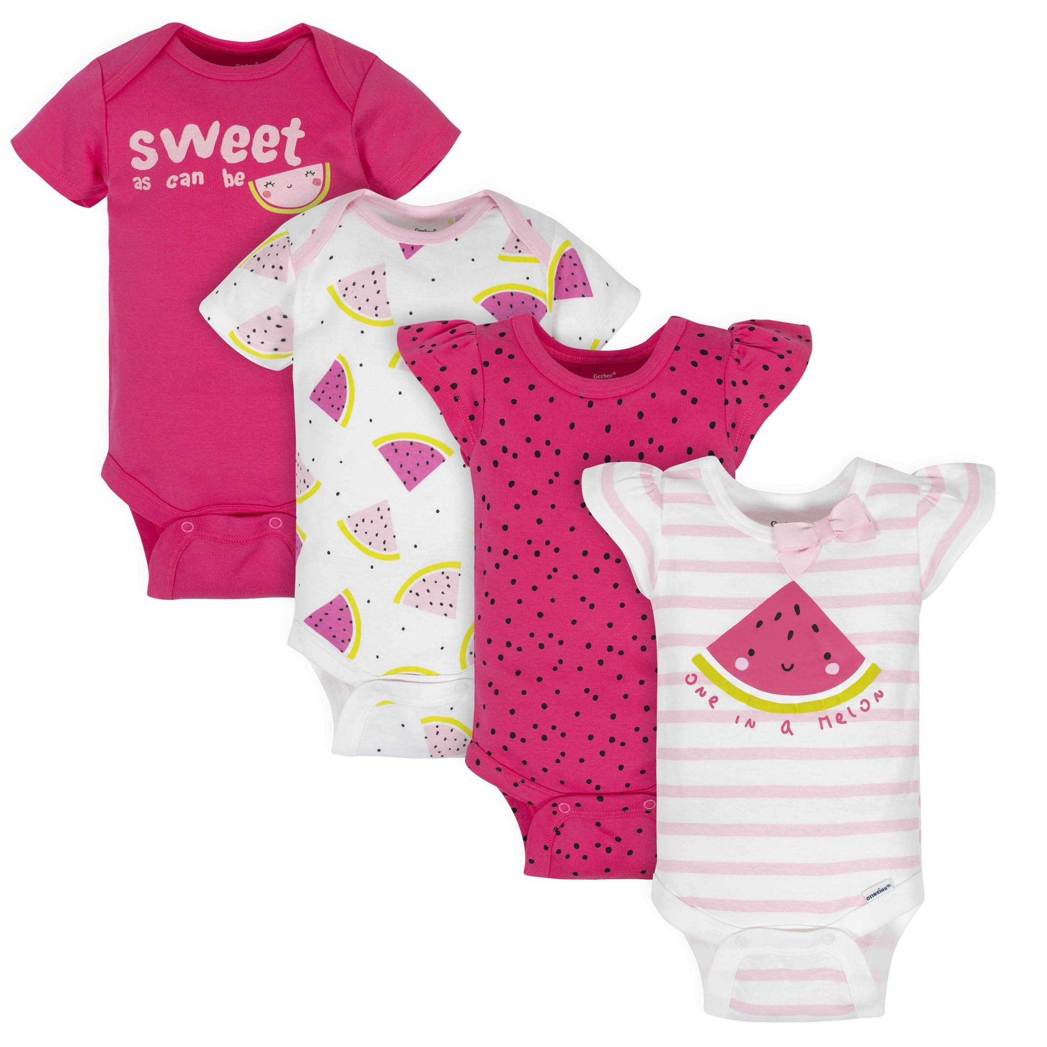 4-Pack Baby Girls Watermelon Short Sleeve Onesies Bodysuits