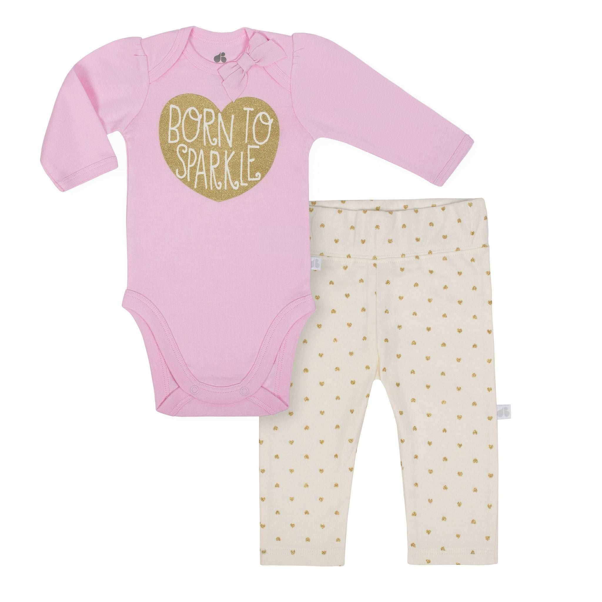 Baby Girl Just Born® Organic Heart Bodysuit and Pants Set