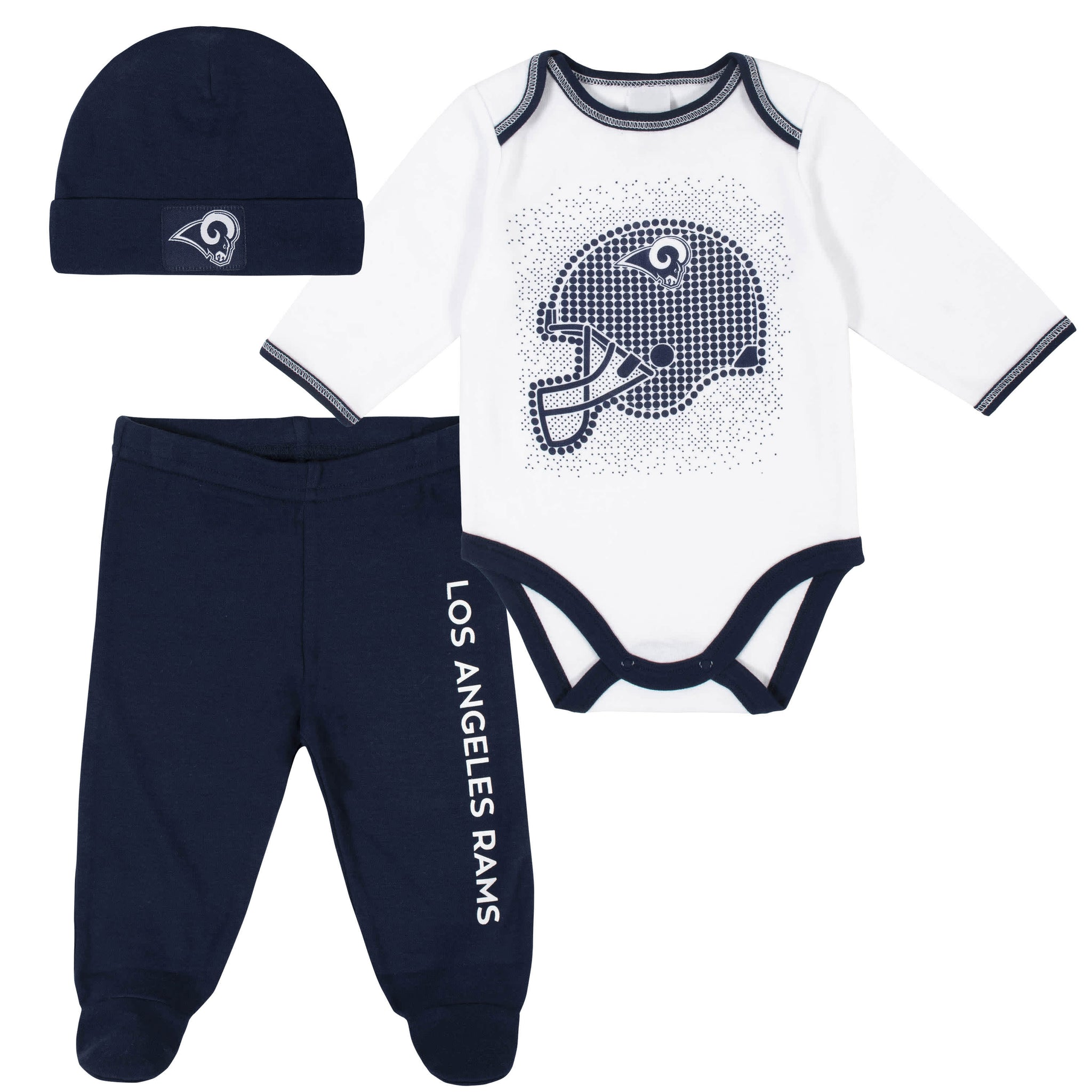 Los Angeles Rams 3-Piece Baby Boys Bodysuit, Pant, and Cap Set