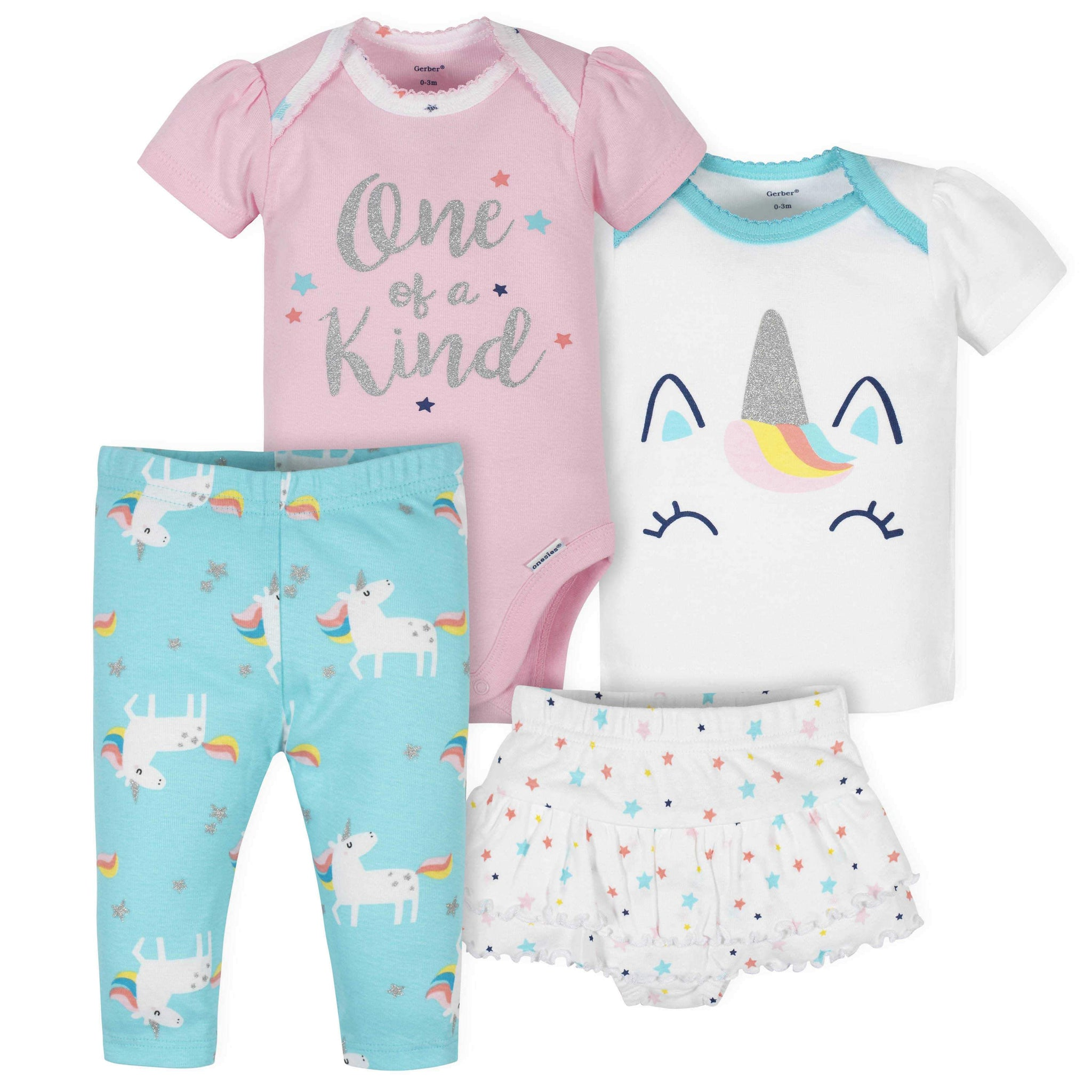 4-Piece Baby Girls Unicorn Onesies Bodysuit, Skirted Panty, Shirt, and Slim Pant Set