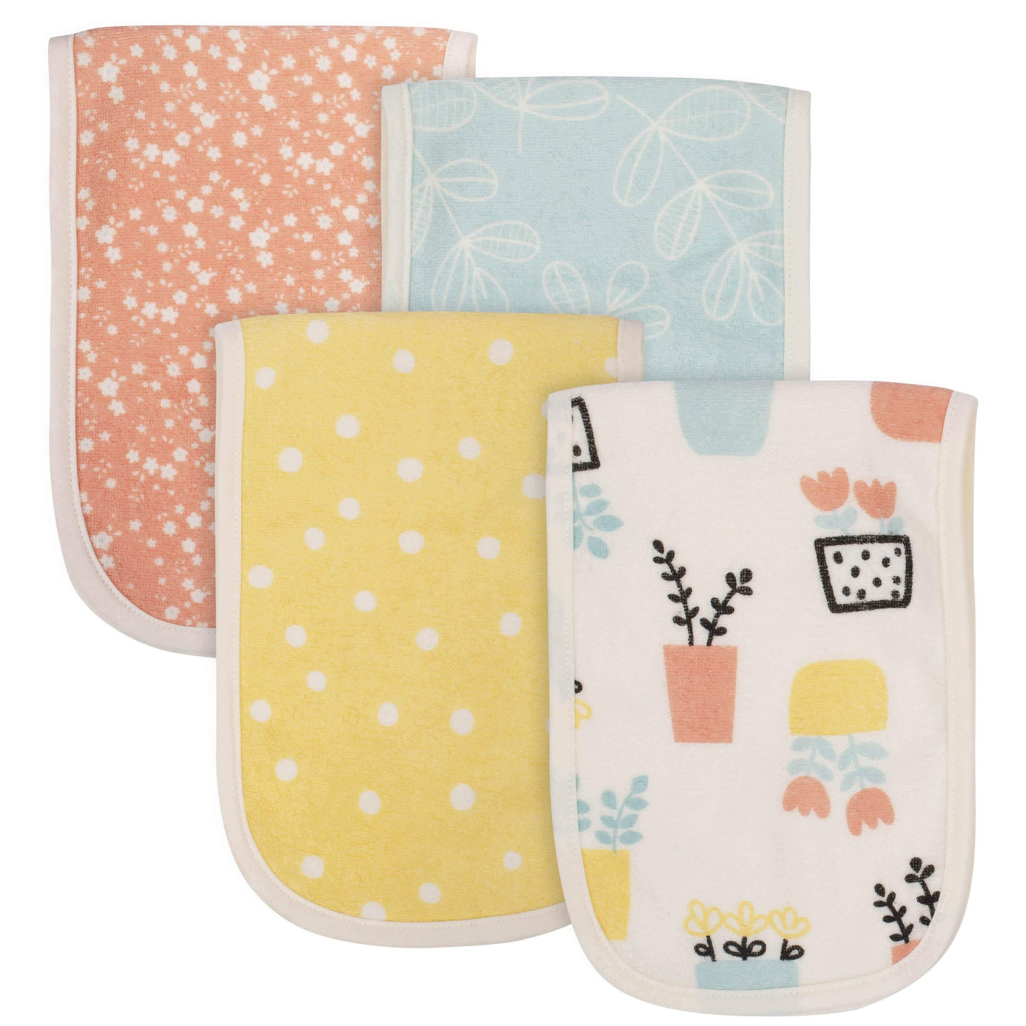 4-Pack Baby Girls Grow by Gerber® Flower Pot Organic Burp Cloths-Gerber Childrenswear