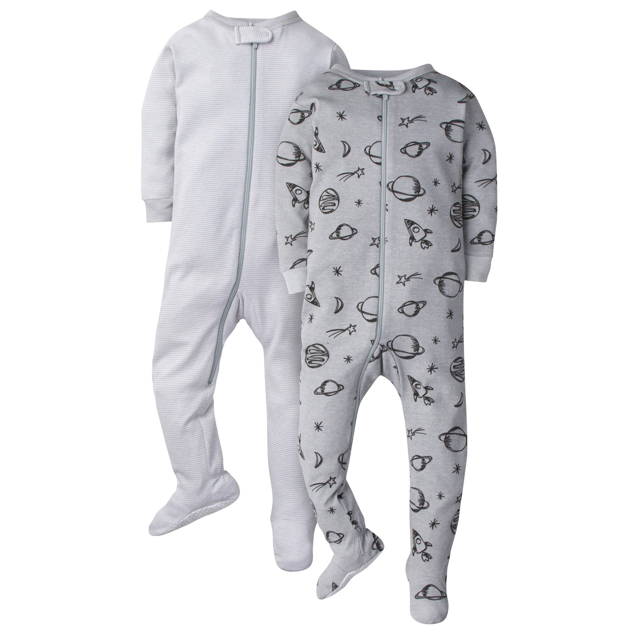 2-Pack Baby Boys Footed Union Suits - Universe