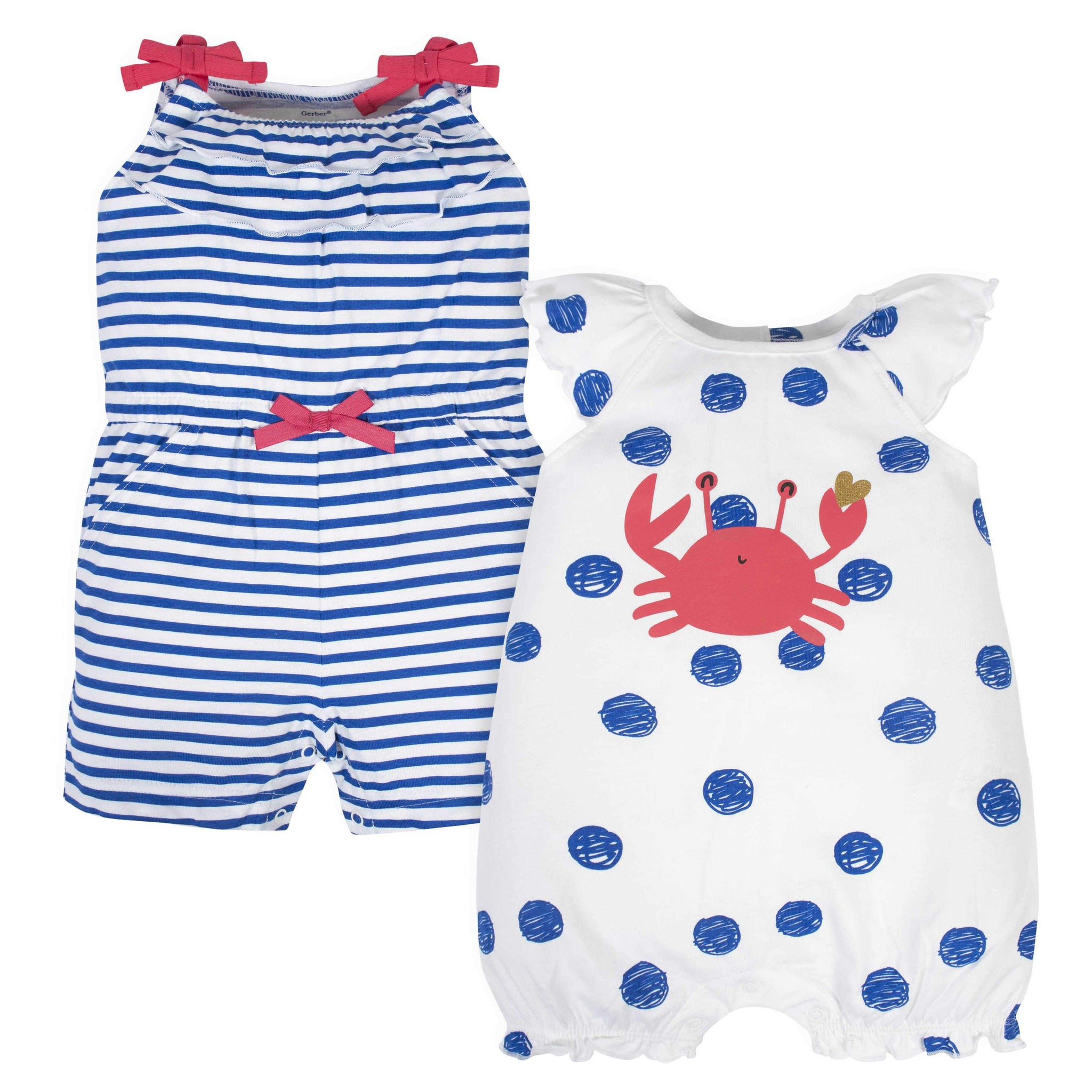 Gerber® 2-Pack Baby Girls Crab Rompers