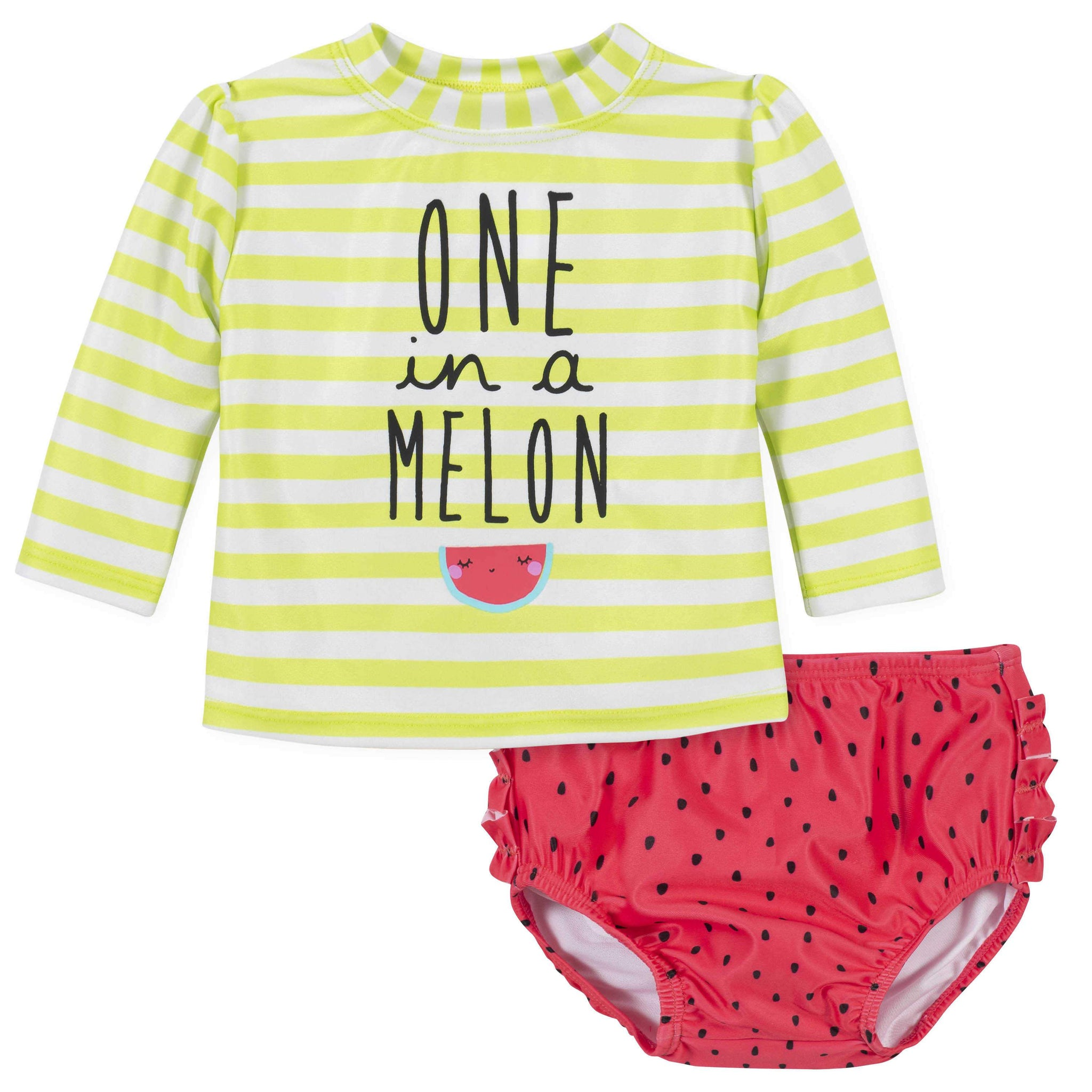 Gerber® 2-Piece Baby Girls Watermelon Rashguard and Swim Bottom Set