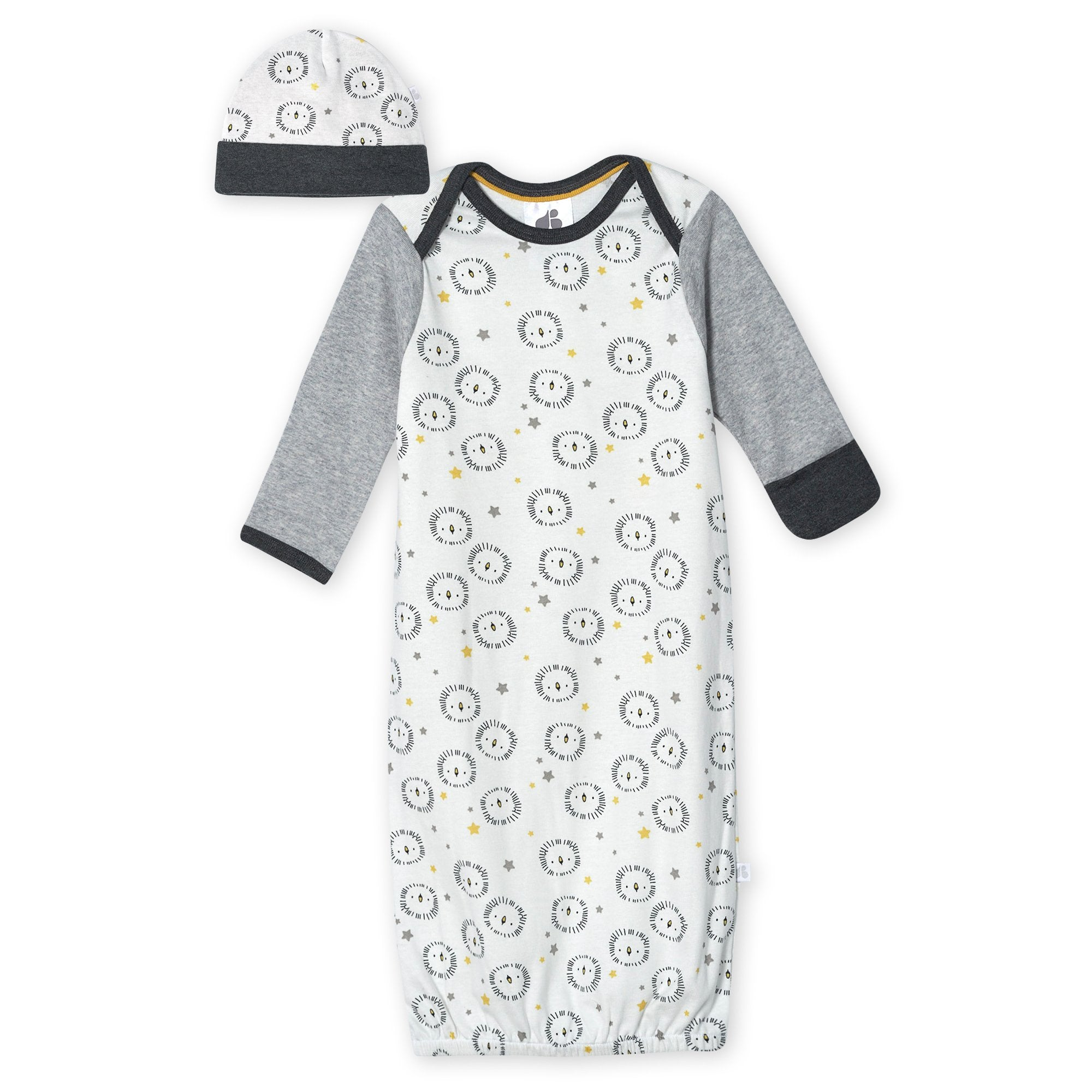 Just Born® Organic Baby Boys 2-Piece Lil' Lion Gown and Hat Set-Gerber Childrenswear