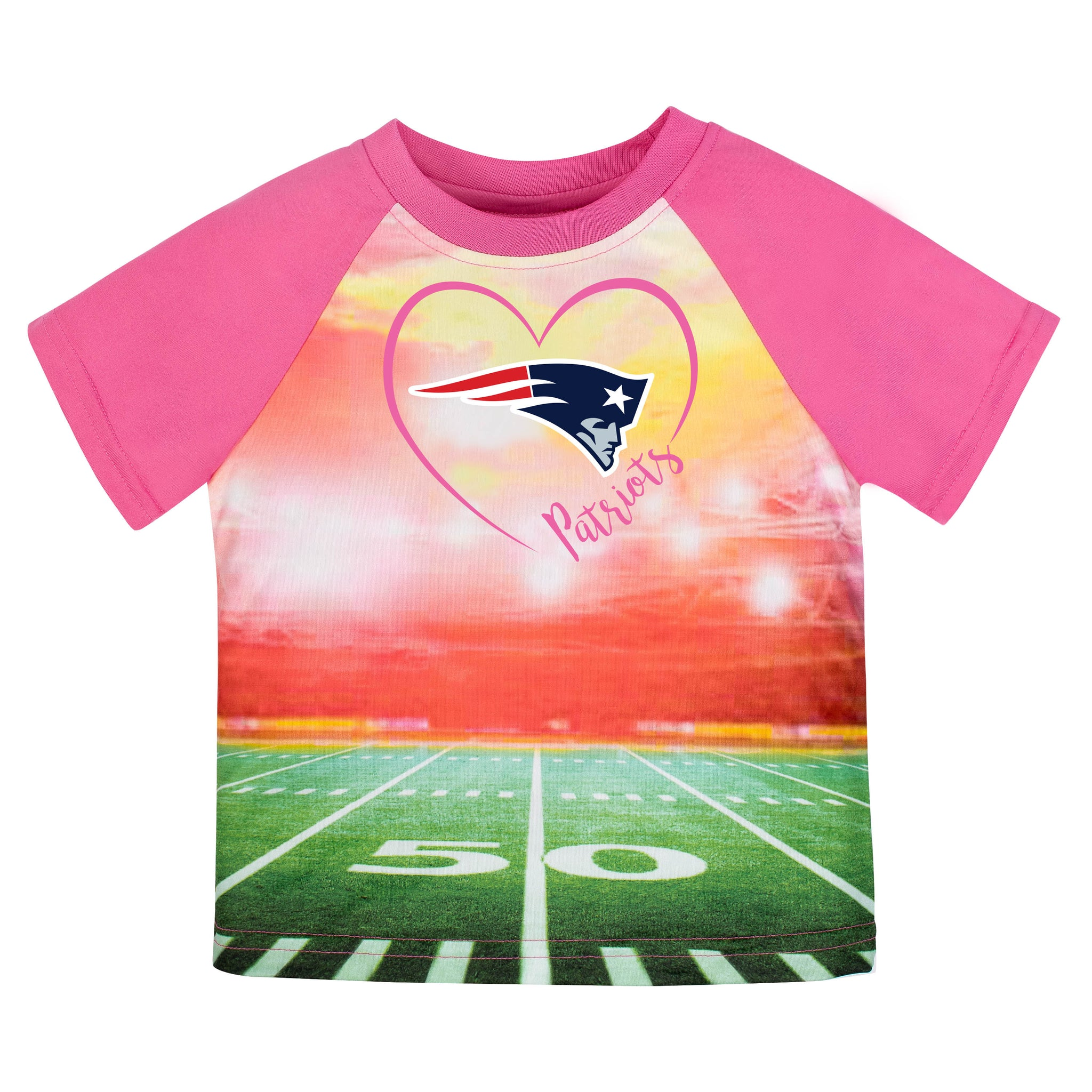 New England Patriots Girls Short Sleeve Tee Shirt-Gerber Childrenswear