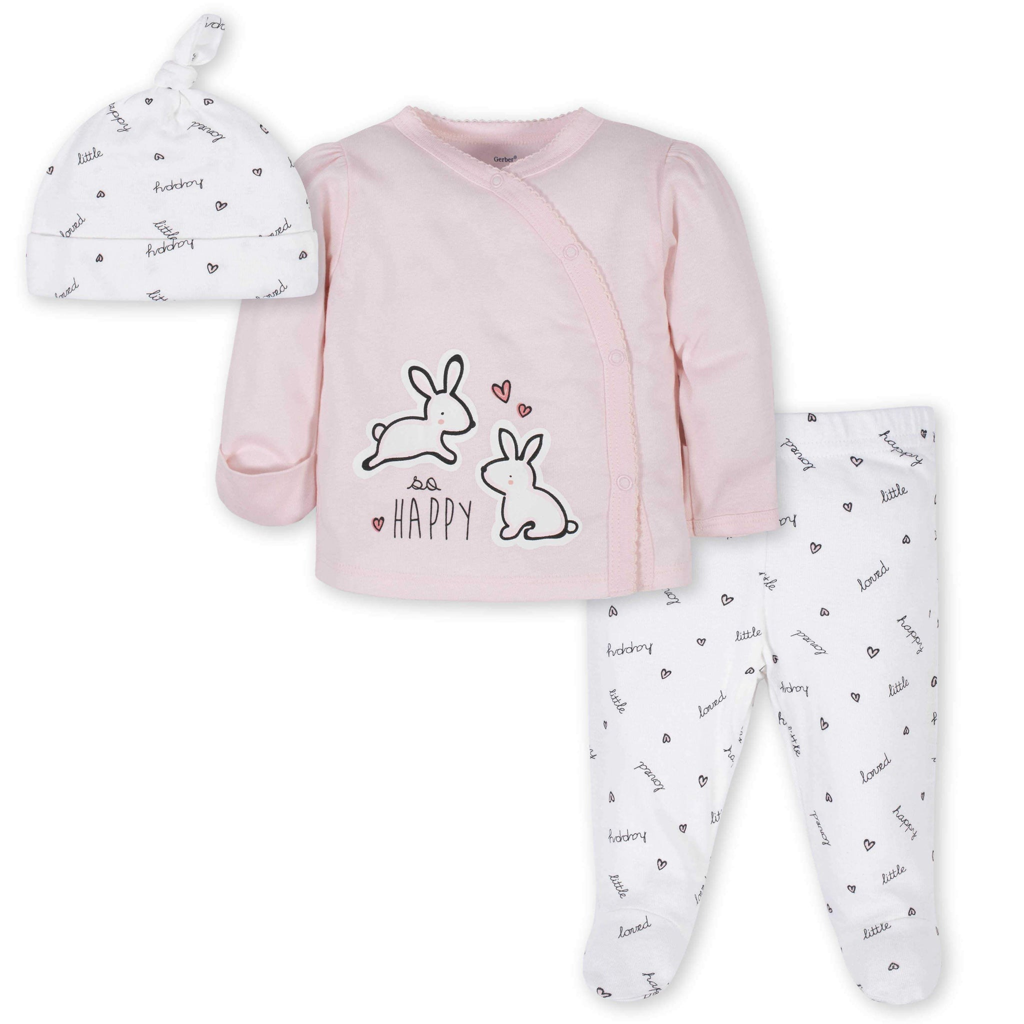 3-Piece Baby Girls Rabbit Take-Me-Home Set