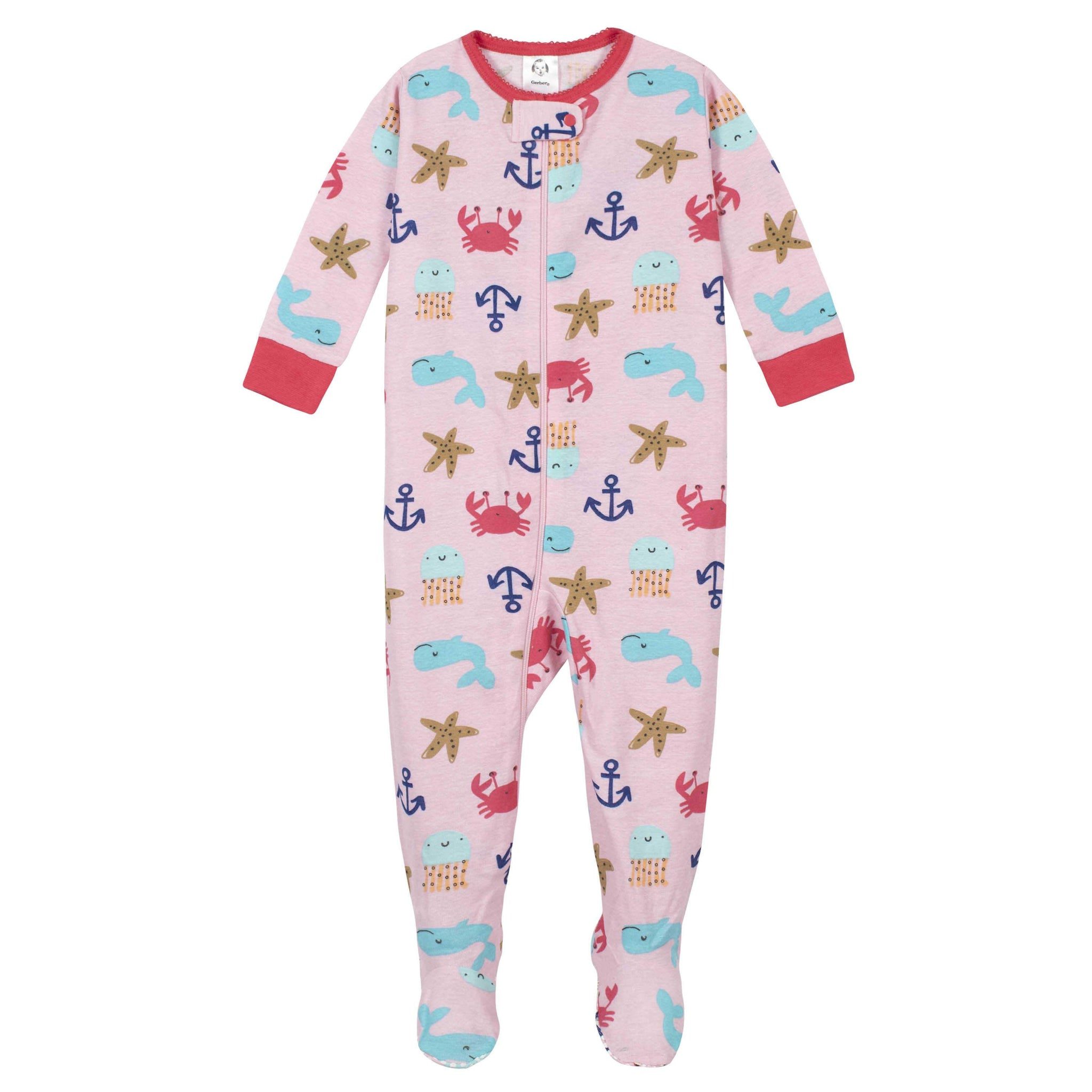 2-Pack Girls Whale Footed Unionsuit