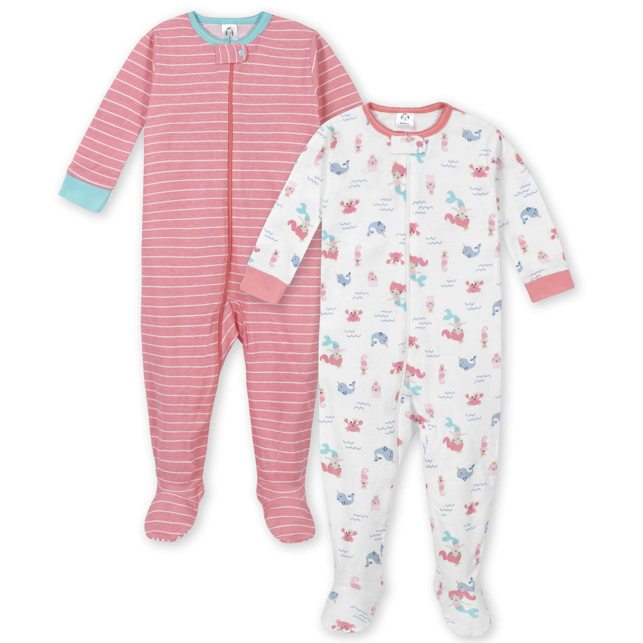 2-Pack Girls Mermaid Footed Unionsuit