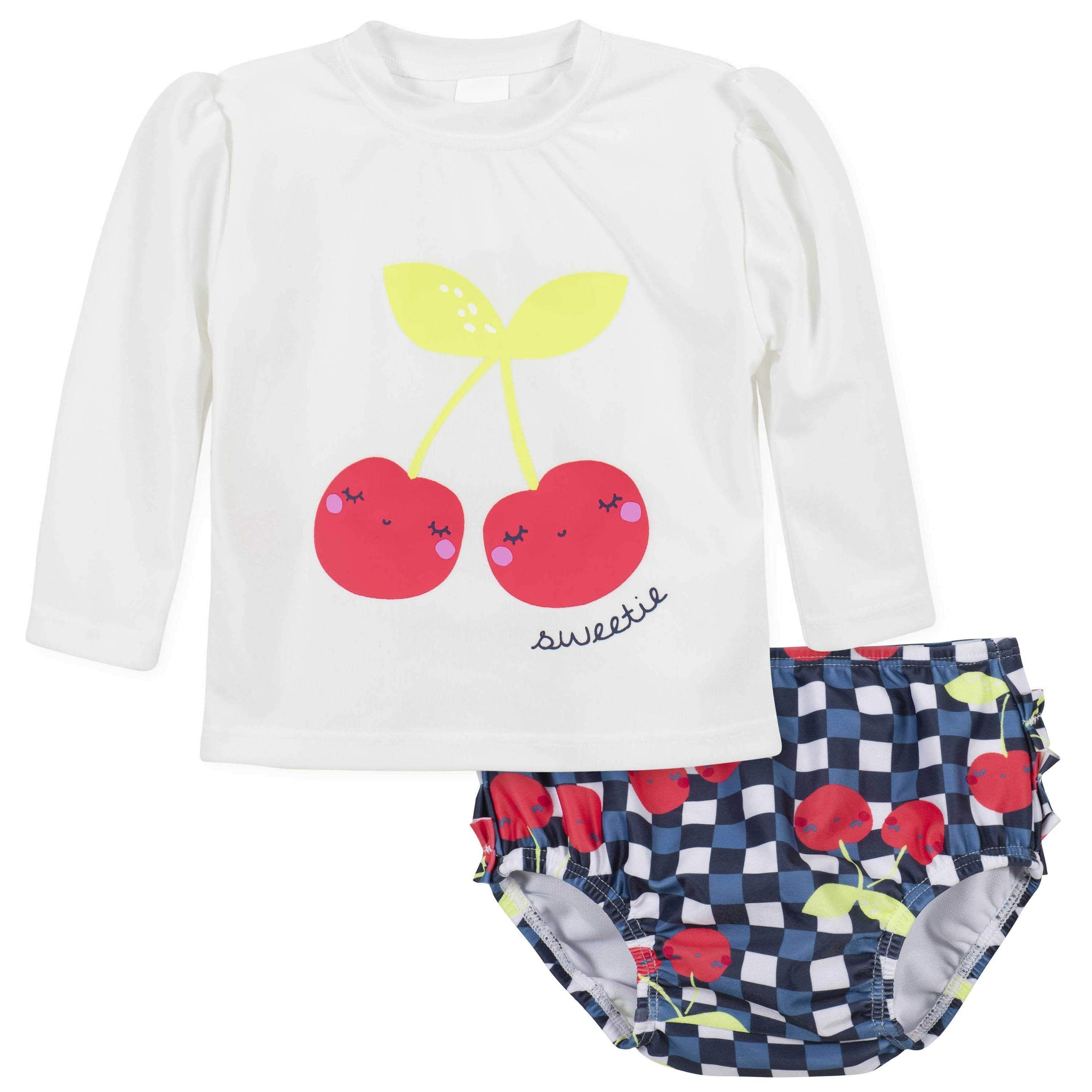 Gerber® 2-Piece Baby Girls Cherry Rashguard and Swim Bottom Set