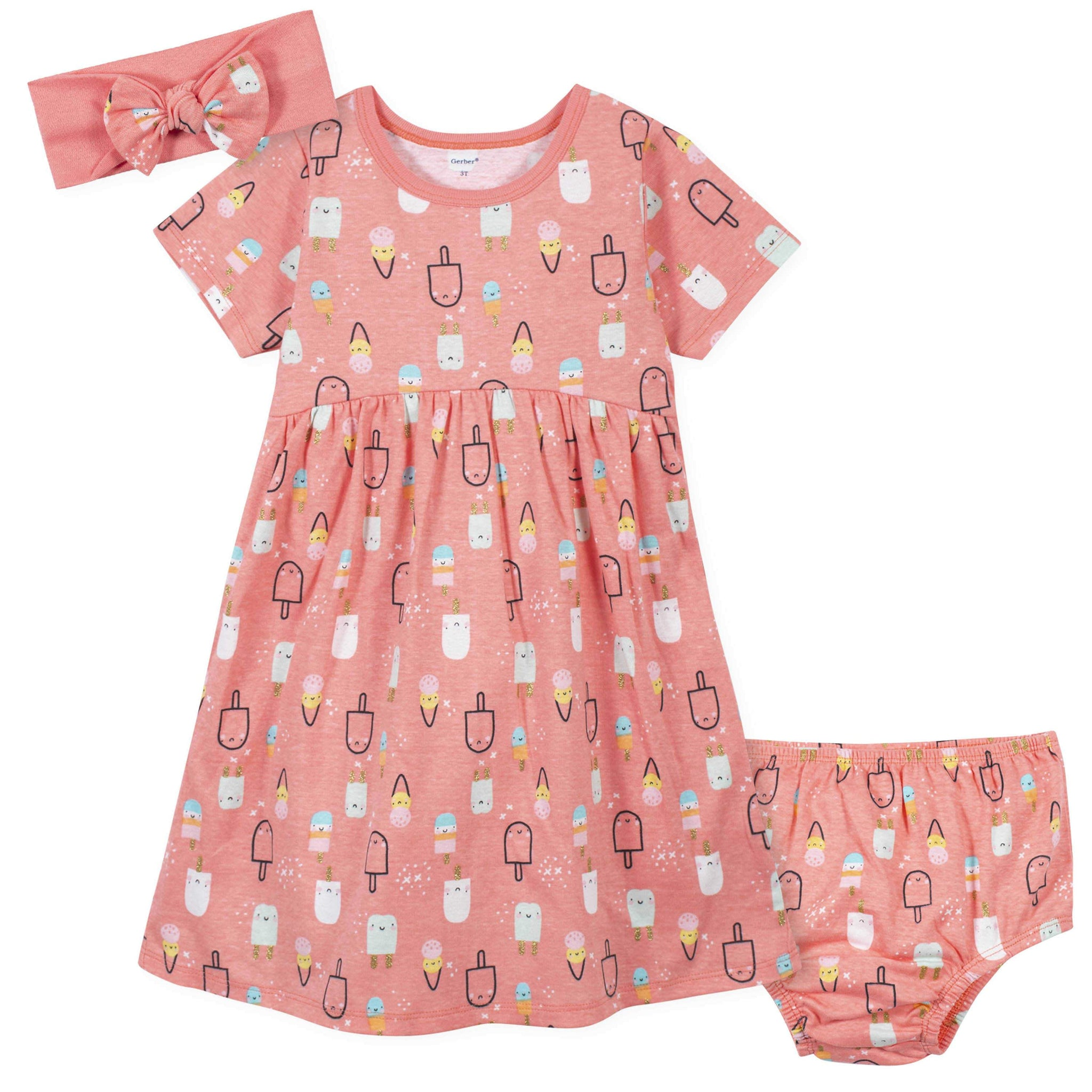 3-Piece Toddler Girls PopsiclesDress, Diaper Cover, and Headband Set