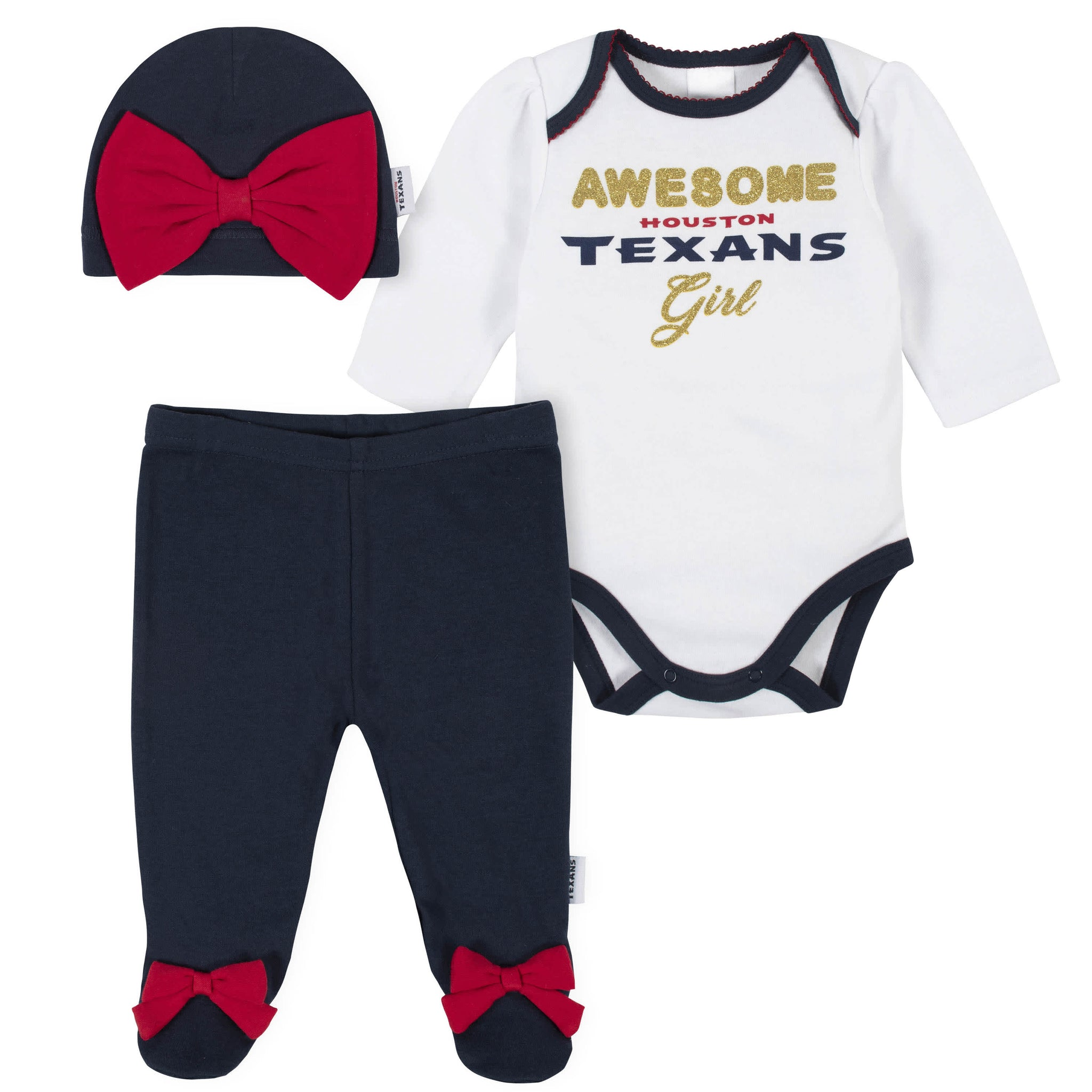 Houston Texans Baby Girls Bodysuit, Pant, and Cap Set-Gerber Childrenswear