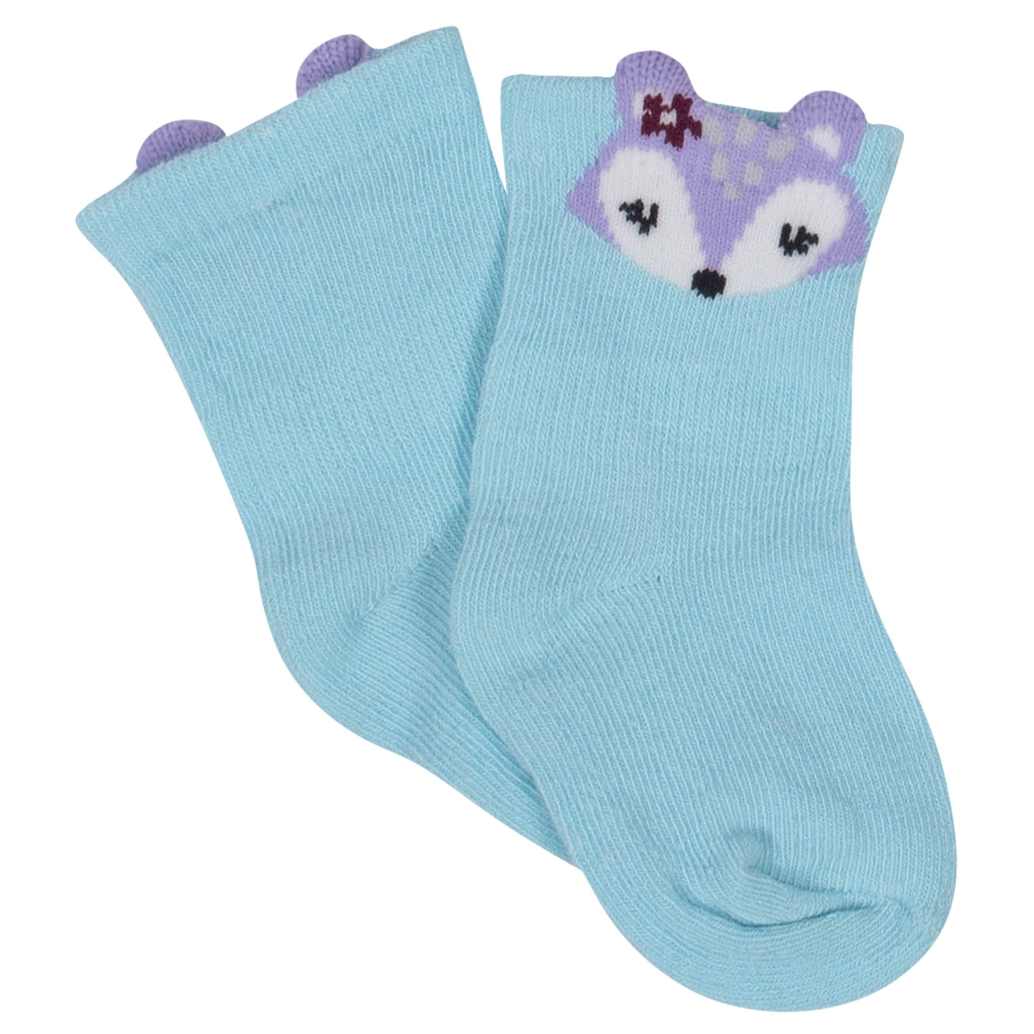 Girls' 8-Pack Wiggle Proof Jersey Crew Socks - Animals