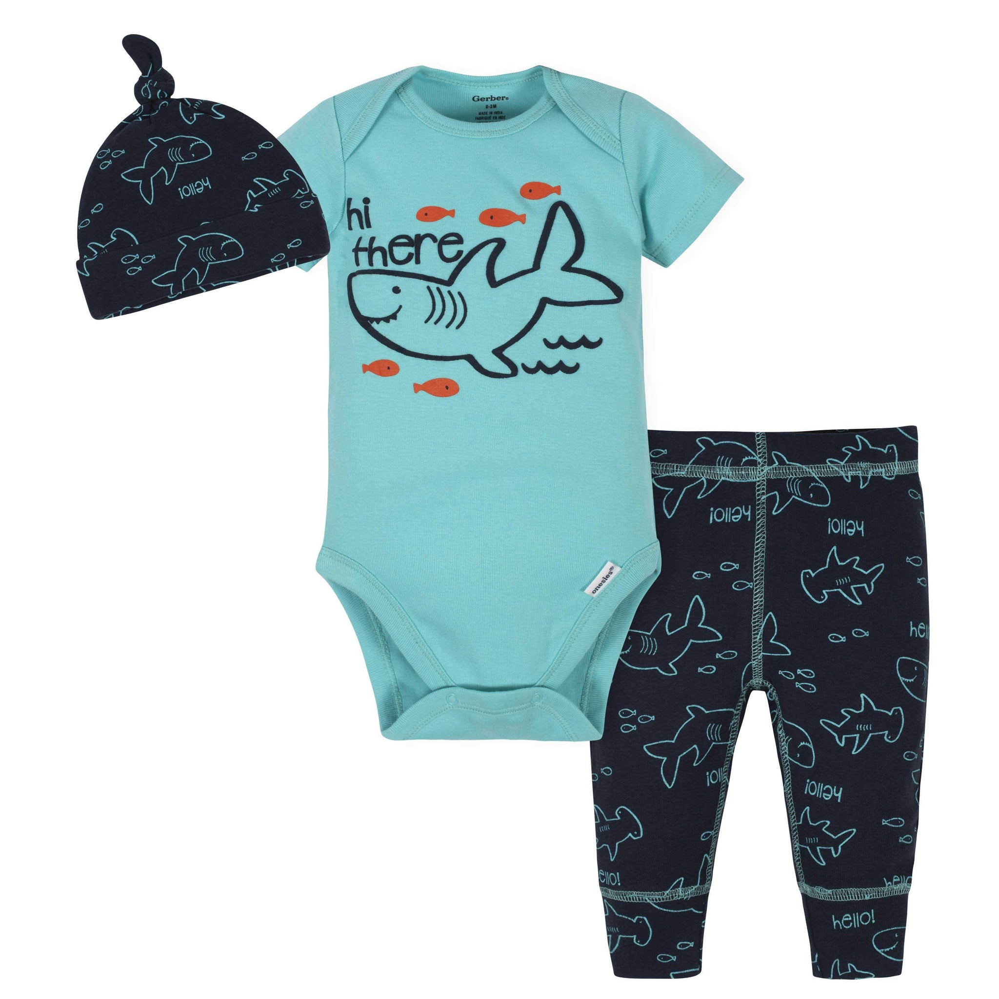 3-Piece Baby Boys Shark Bodysuit, Pants & Cap Set
