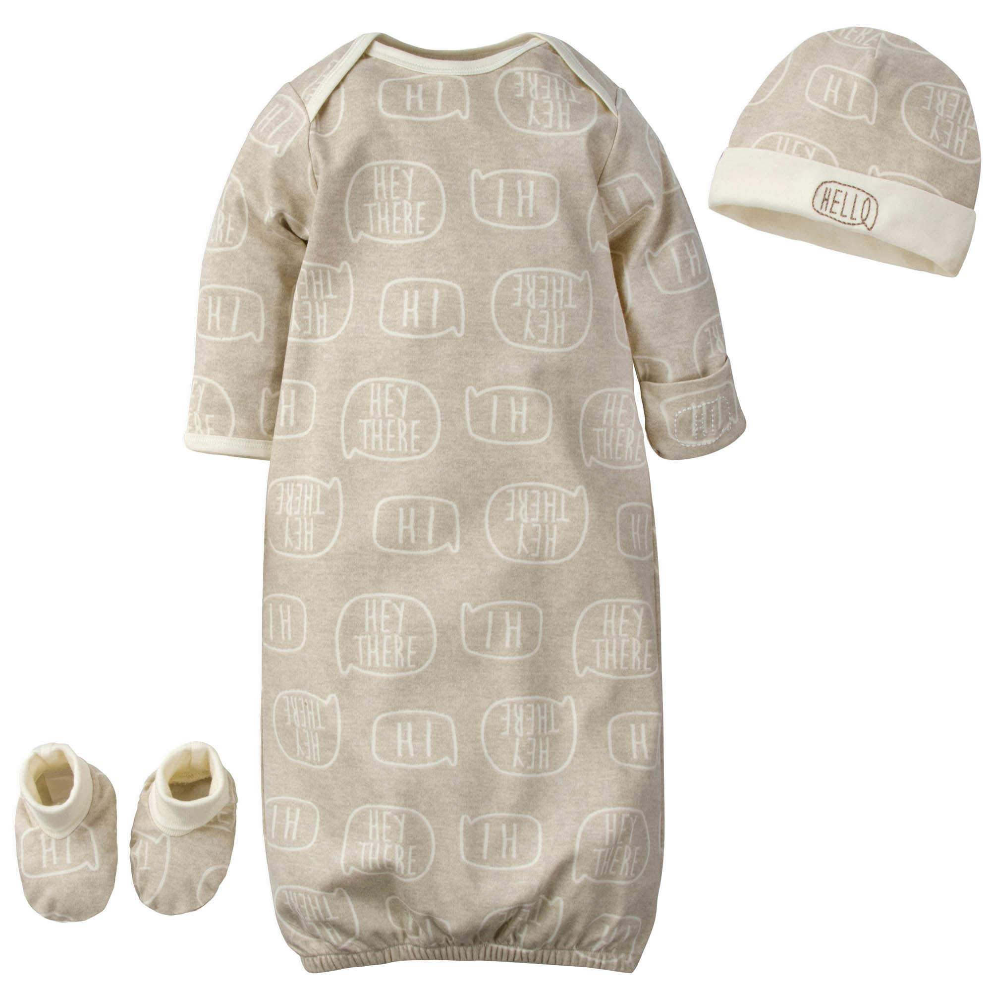 "Gerber® 3-Piece Baby Boys ""Hello"" Organic Gown, Cap & Booties Starter Set"