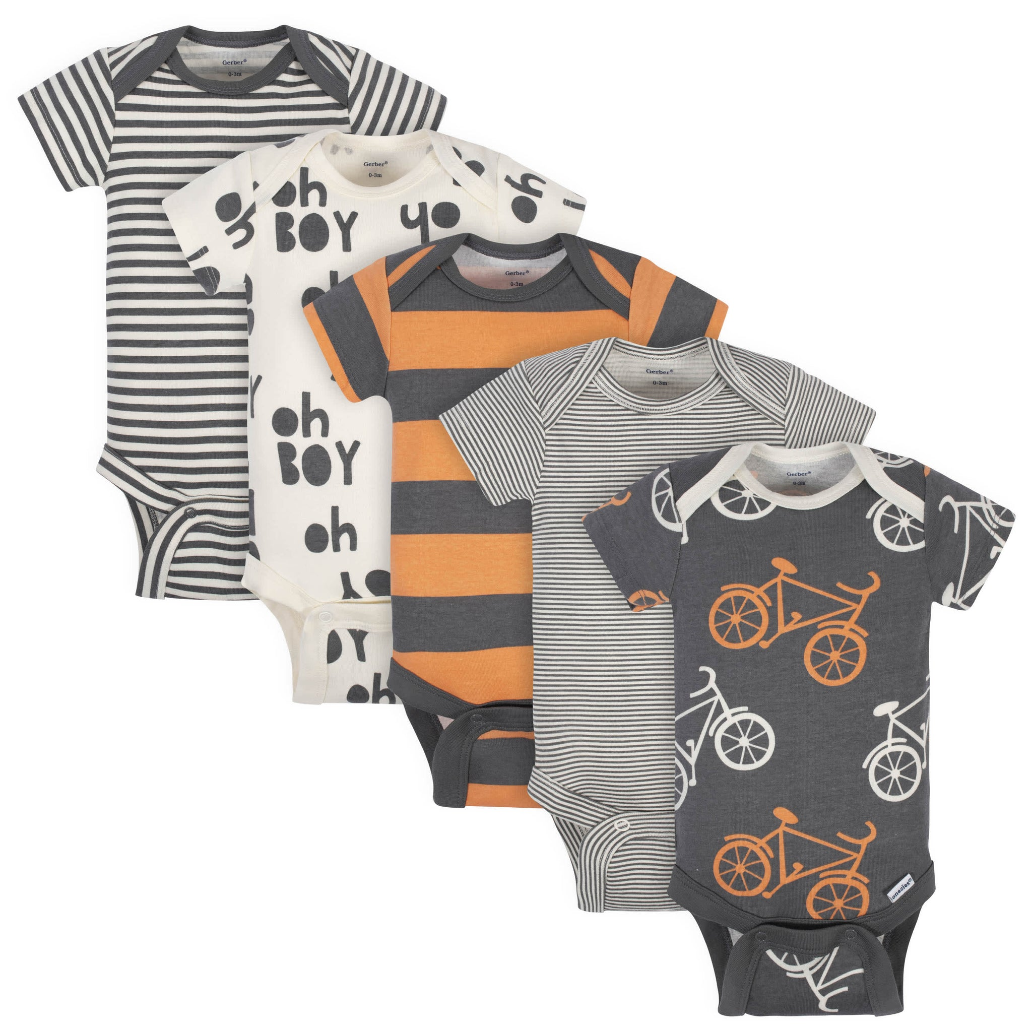 5-Pack Baby Boys Grow by Gerber® Bicycle Organic Short Sleeve Onesies® Bodysuits