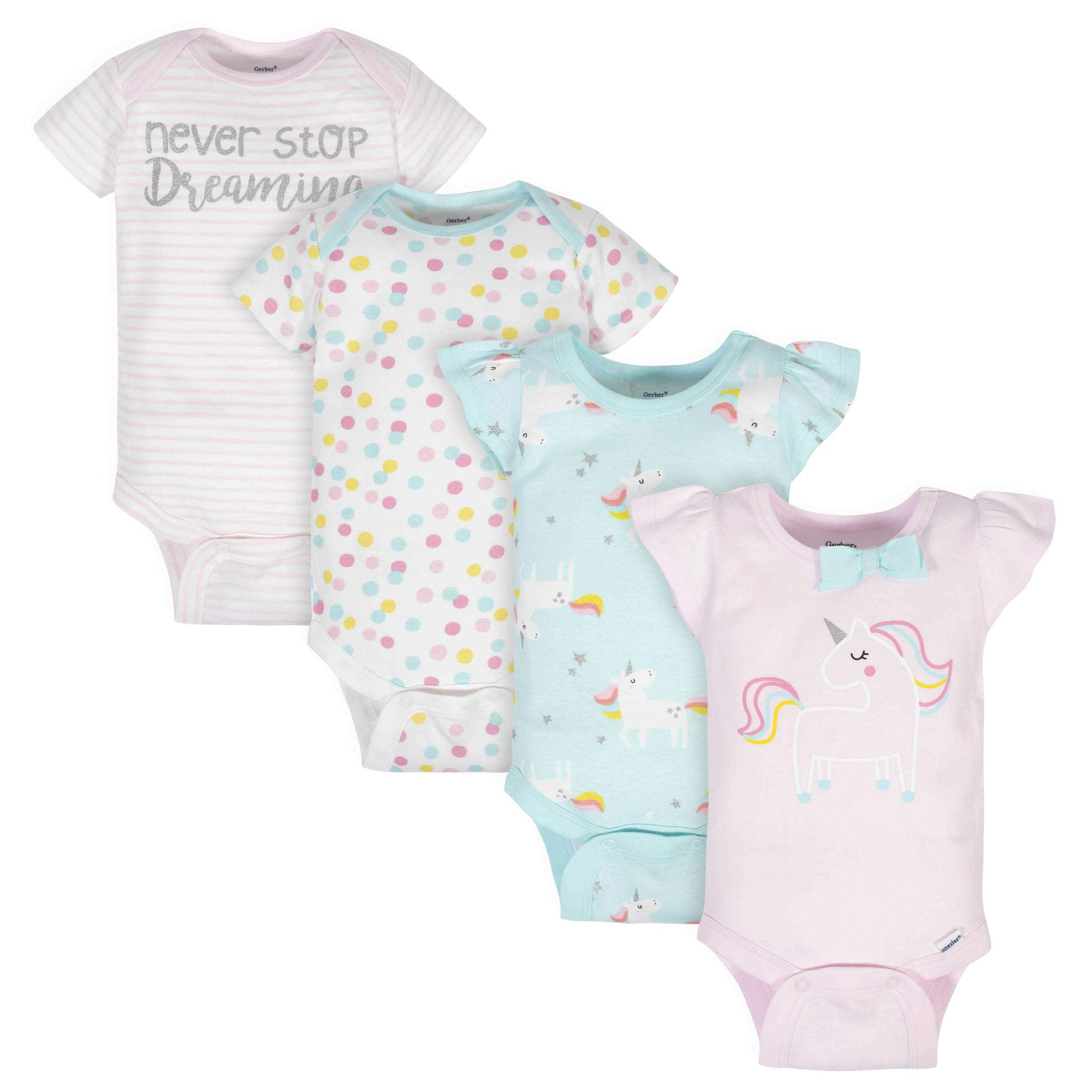 Gerber® 4-Pack Baby Girls Unicorn Short Sleeve Onesies Bodysuits