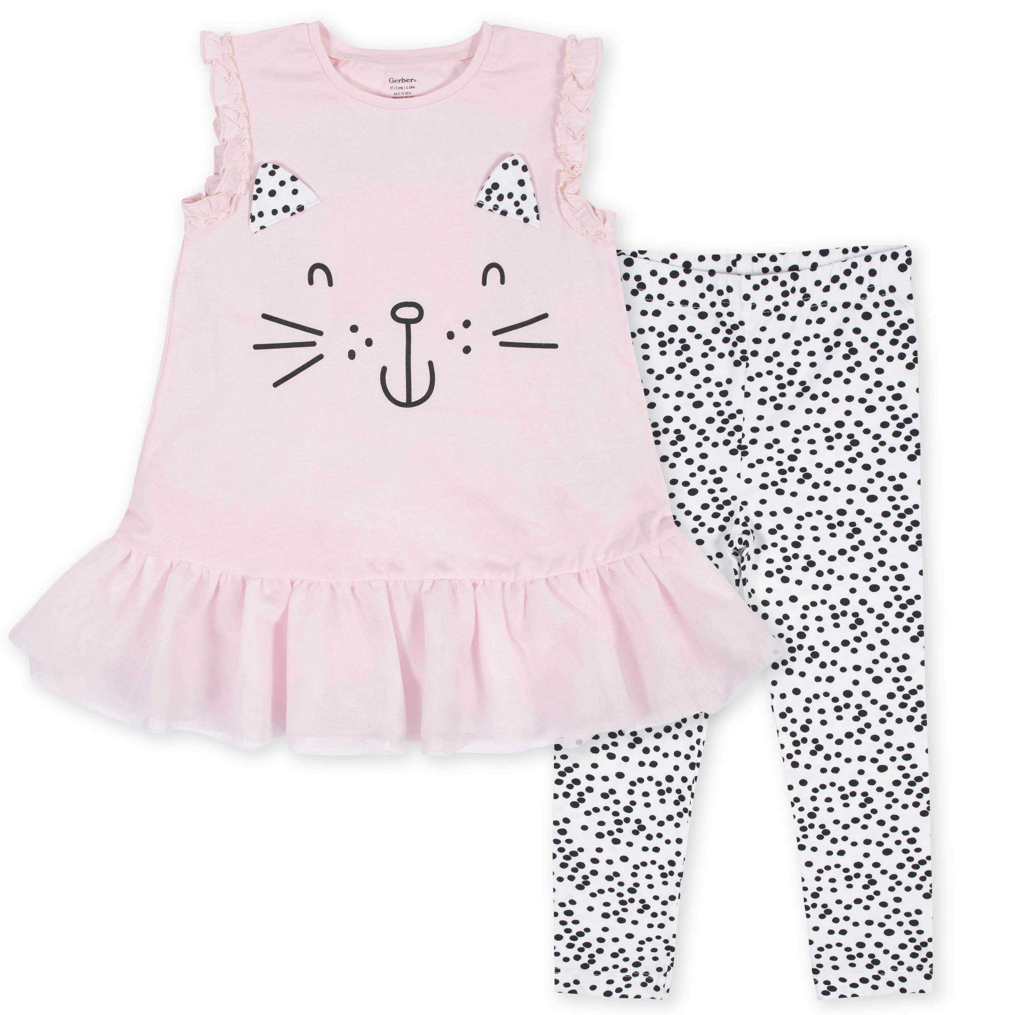 2-Piece Toddler Girls Kitty Ruffled Tunic and Legging Set