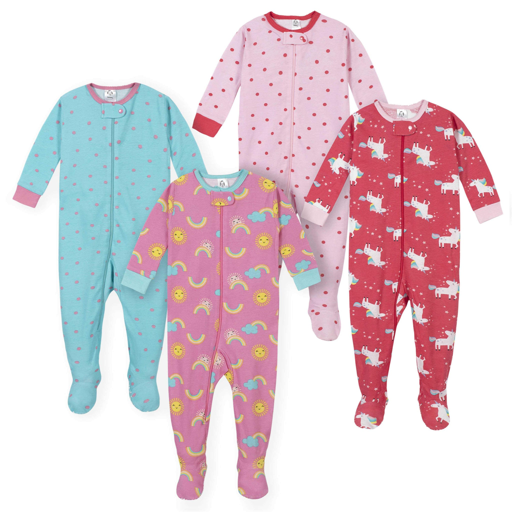 Gerber® 4-Pack Baby Girls Unicorn and Sunshine Footed Pajamas
