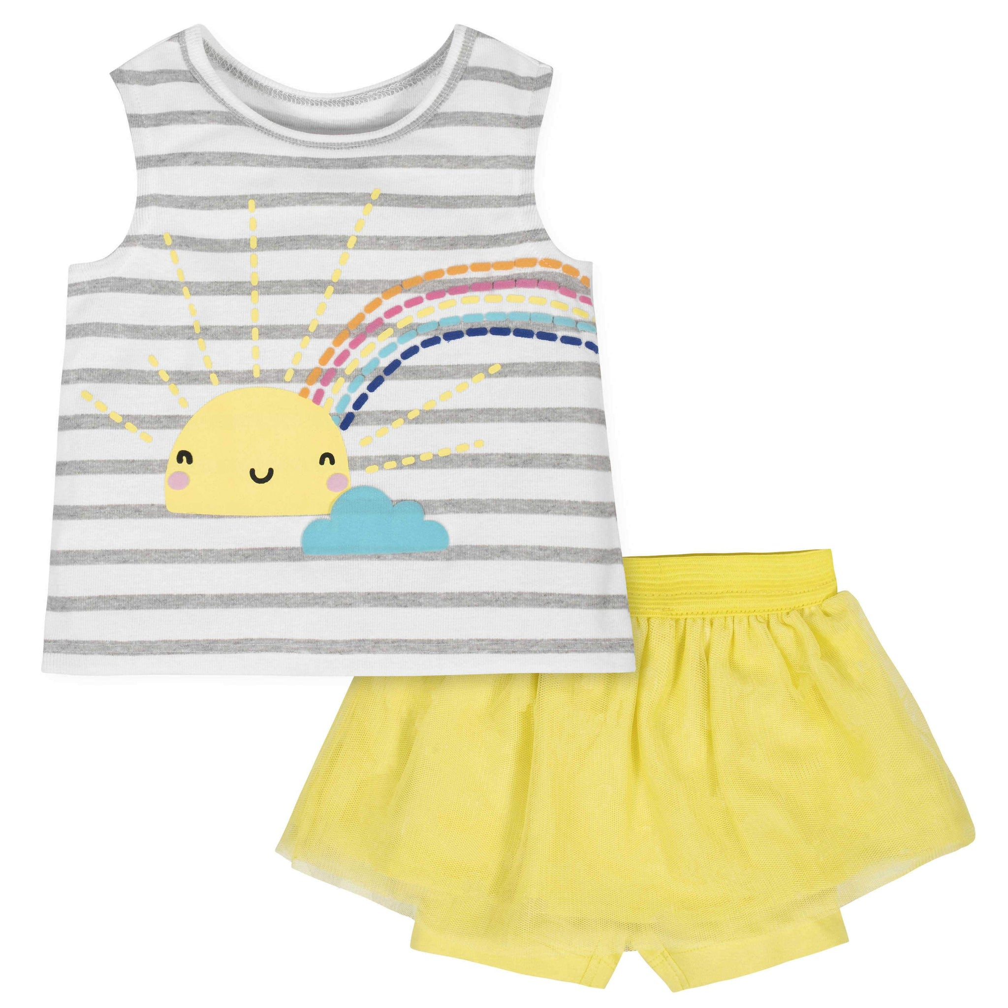2-Piece Toddler Girls Sun Tank and Tutu Short Set