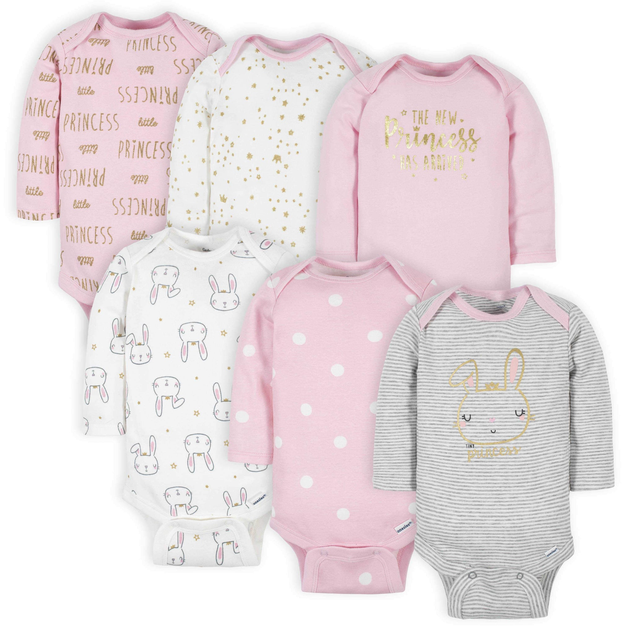 Gerber® 6-Pack Baby Girls Princess Long Sleeve Onesies® Bodysuits