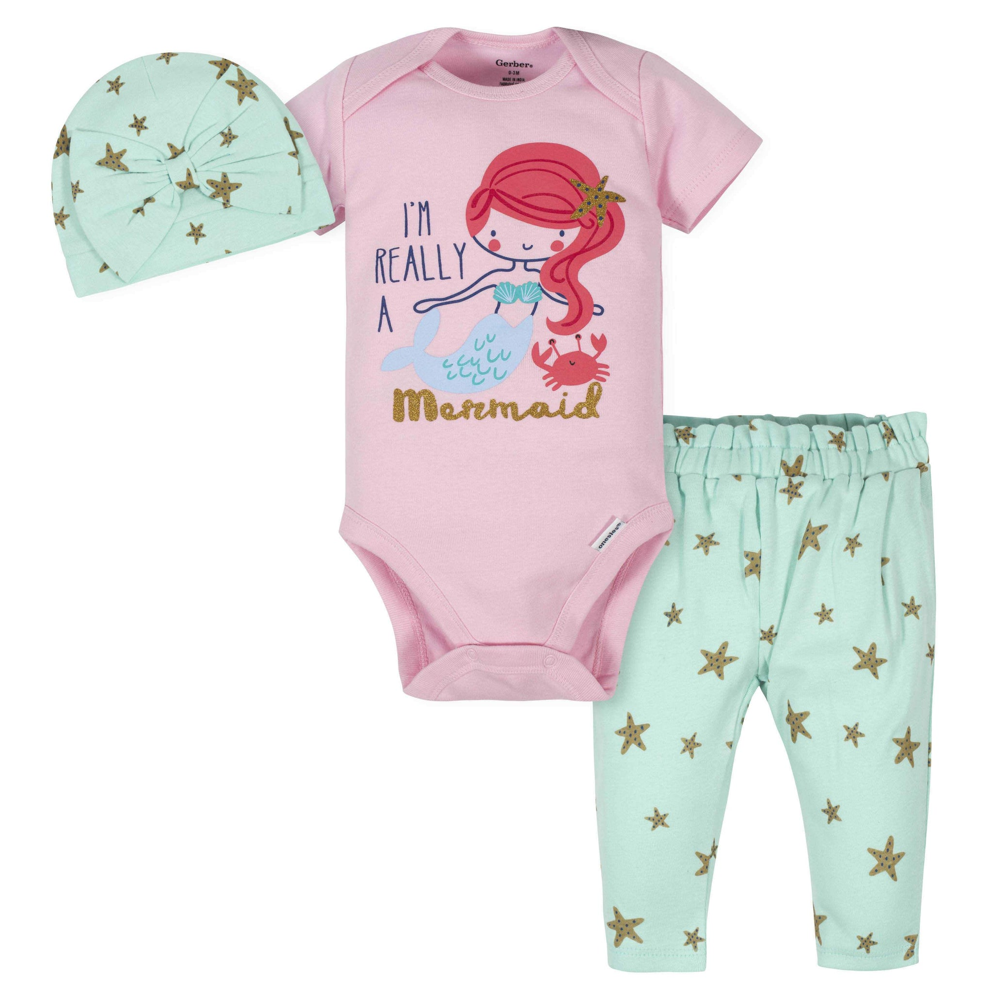 Gerber® 3-Piece Baby Girls Mermaid Bodysuit, Pants & Cap Set