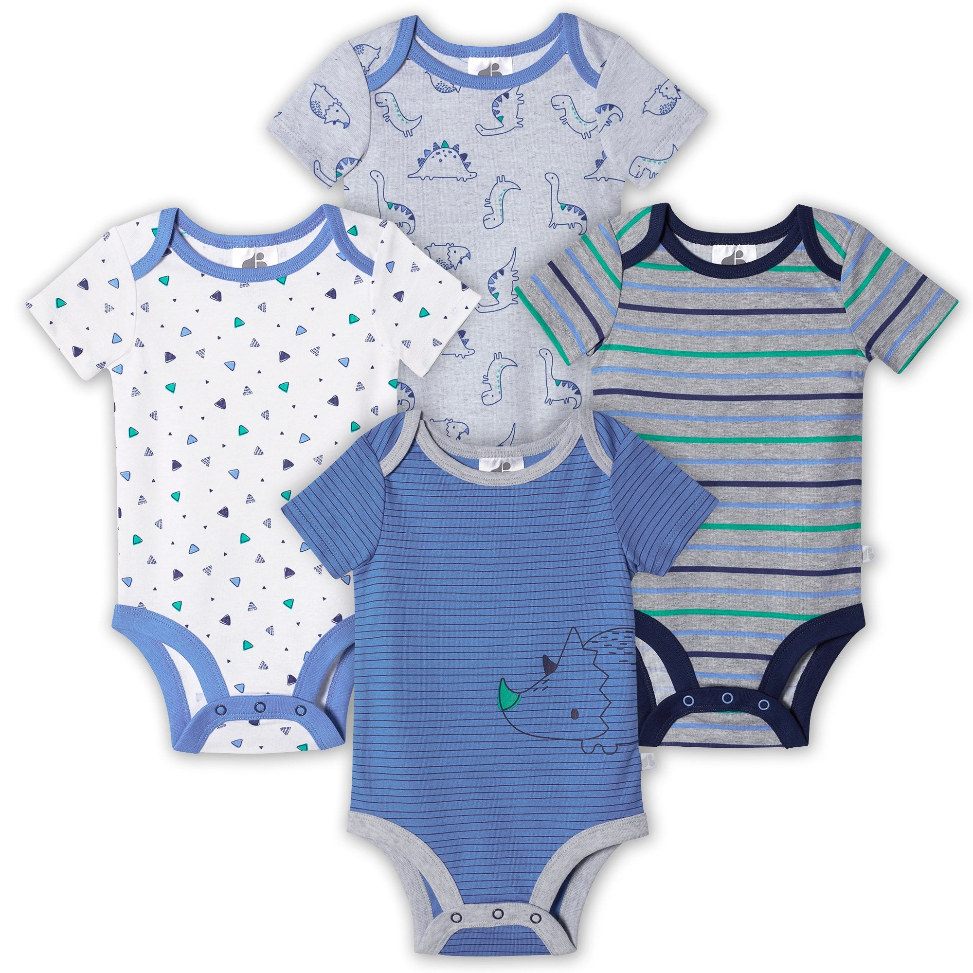 Just Born® Organic Baby Boys 4-Pack Short Sleeve Lil' Dino Bodysuits-Gerber Childrenswear