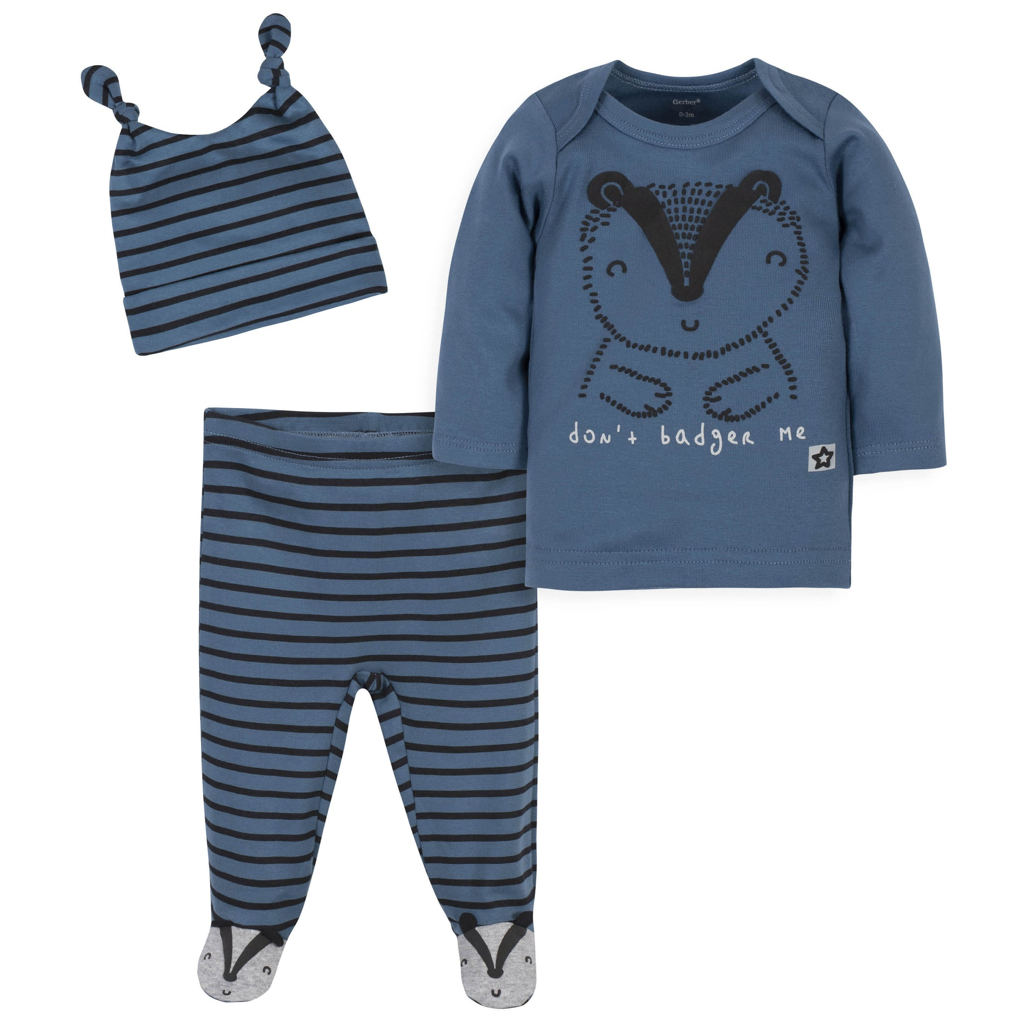 3-Piece Baby Boys Grow by Gerber® Badger Organic Shirt, Footed Pant and Cap Set