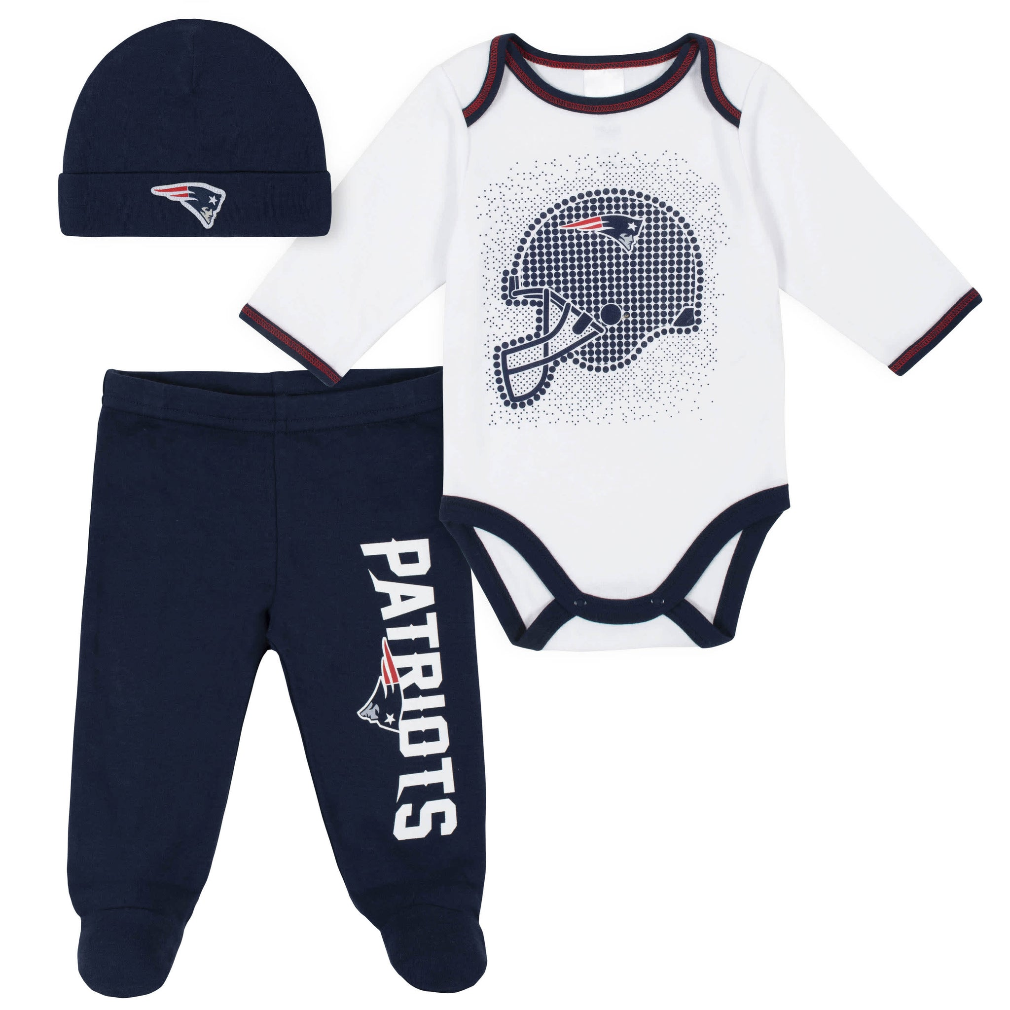 New England Patriots 3-Piece Baby Boys Bodysuit, Pant, and Cap Set-Gerber Childrenswear