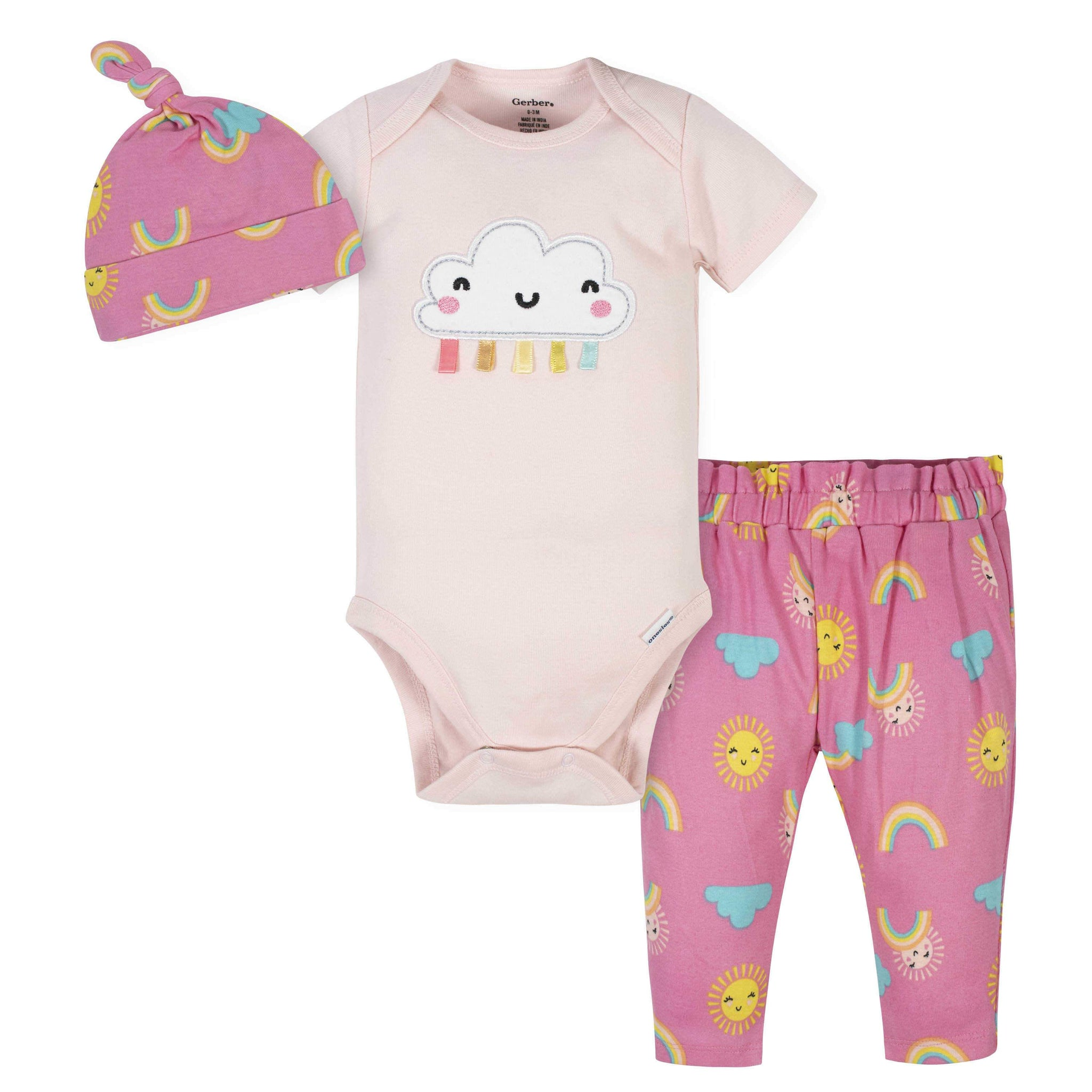 3-Piece Baby Girls Rainbows Bodysuit, Pants & Cap Set